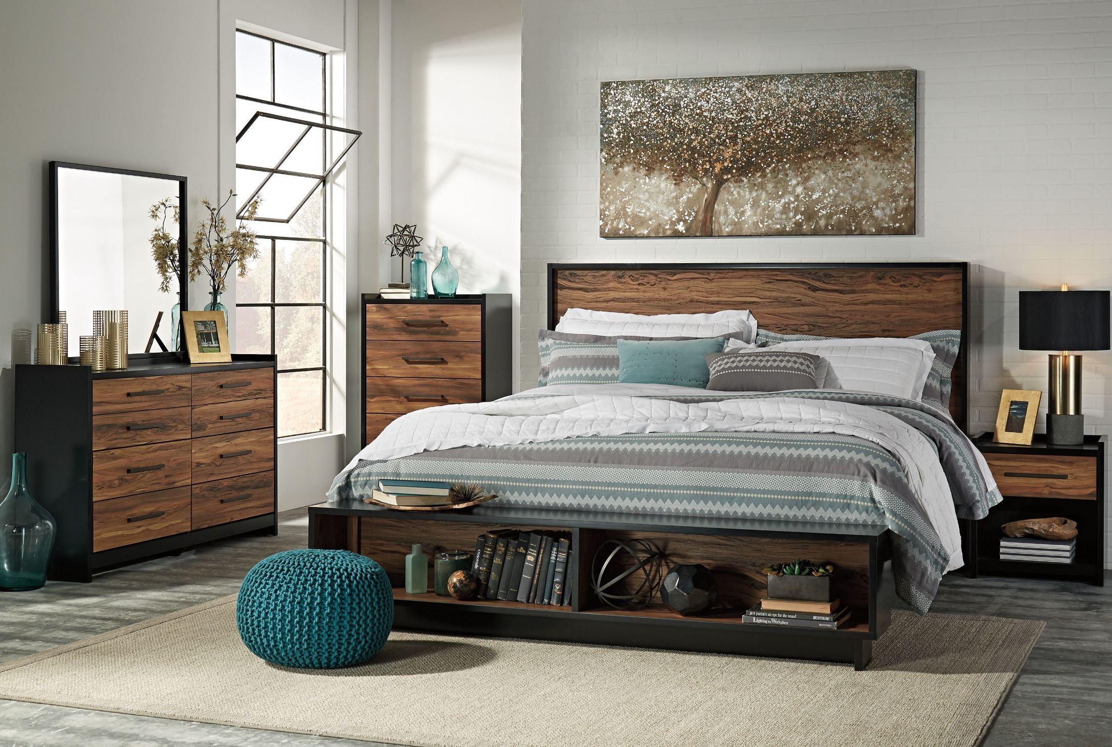 Stavani Black And Brown Panel Storage Bedroom Set From Ashley Coleman Furniture