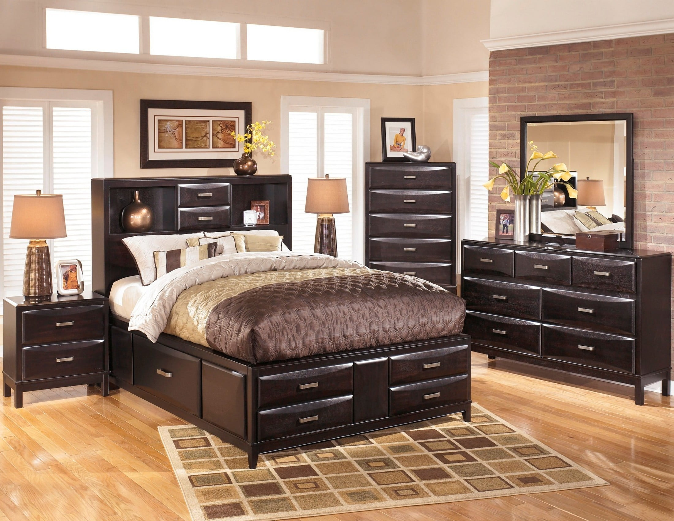 Kira Almost Black Storage Platform Bookcase Bedroom Set
