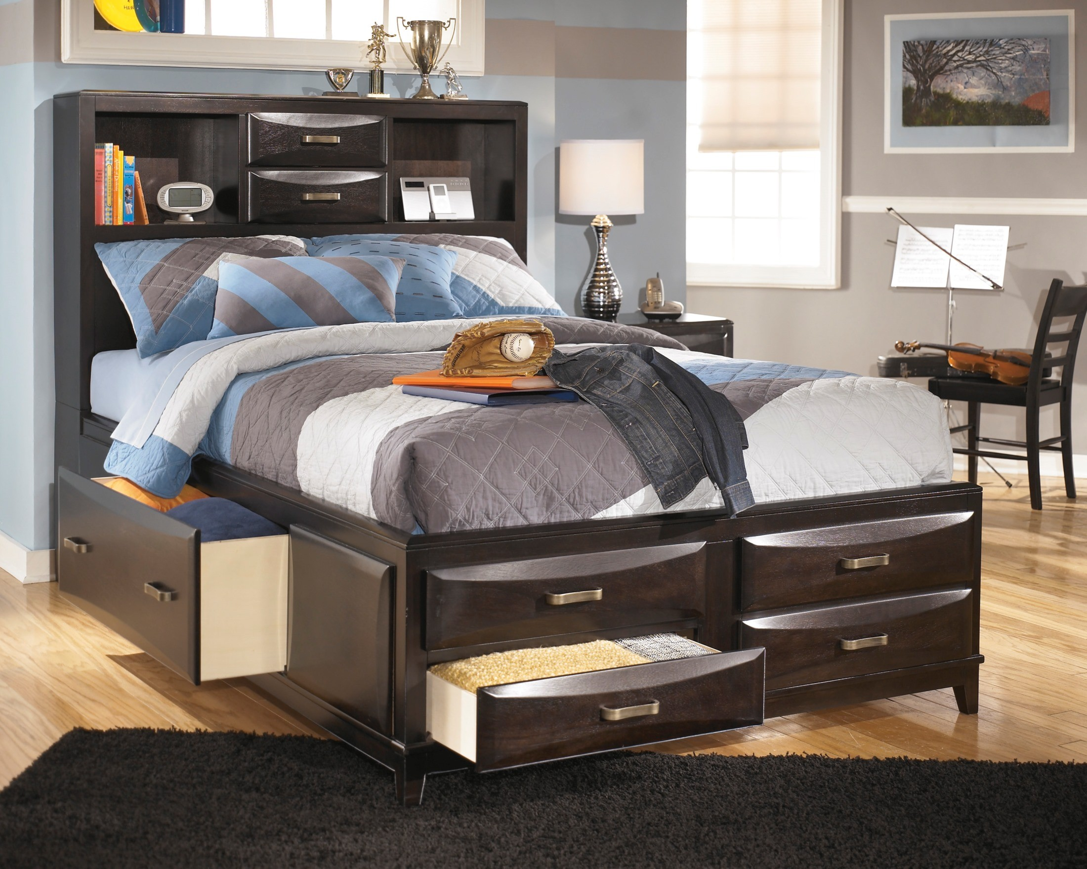 & Kira Full Storage Bed from Ashley (B473-77-74-88) | Coleman Furniture