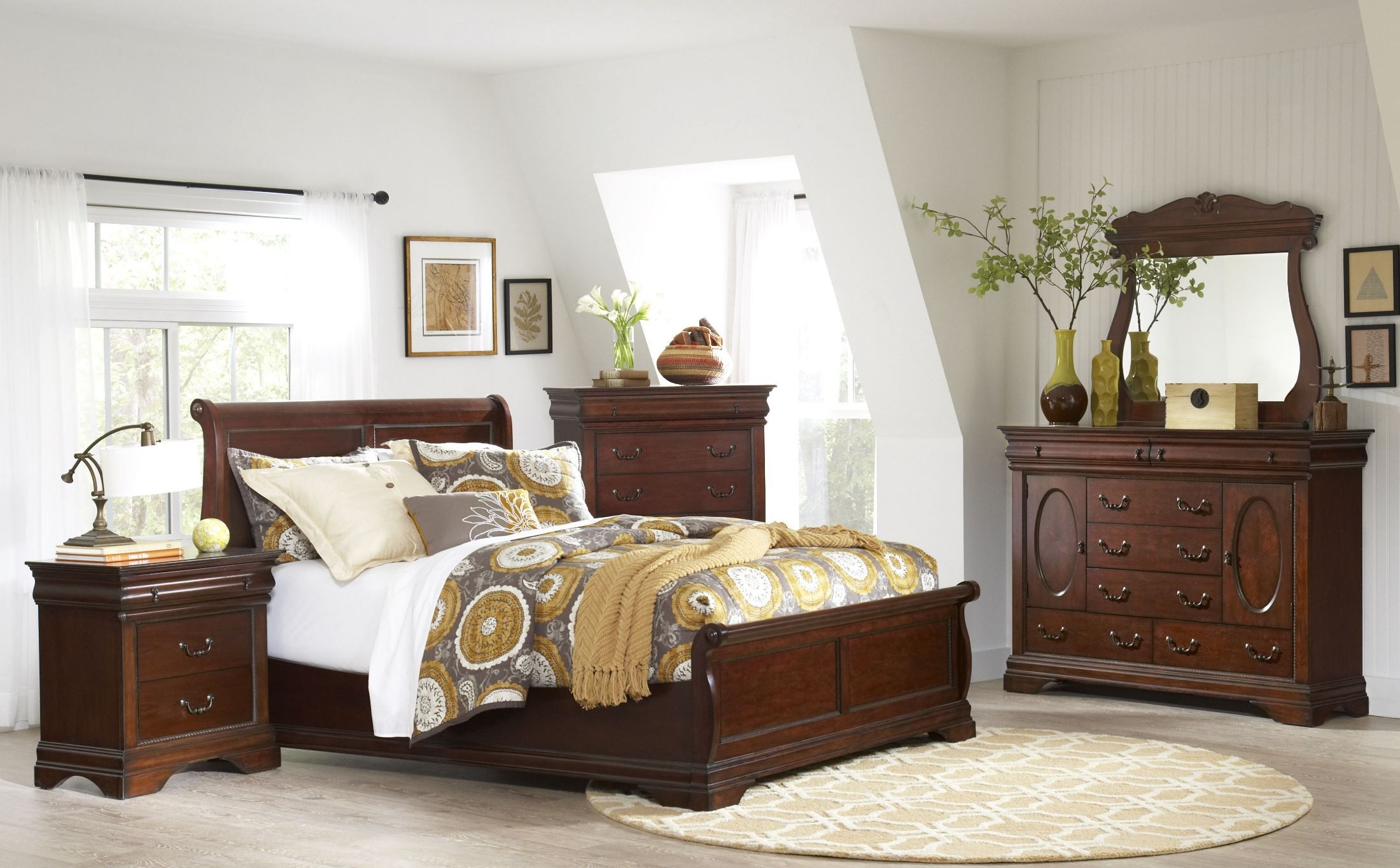 chateau vintage cherry panel bedroom set, b4800-58h-58f