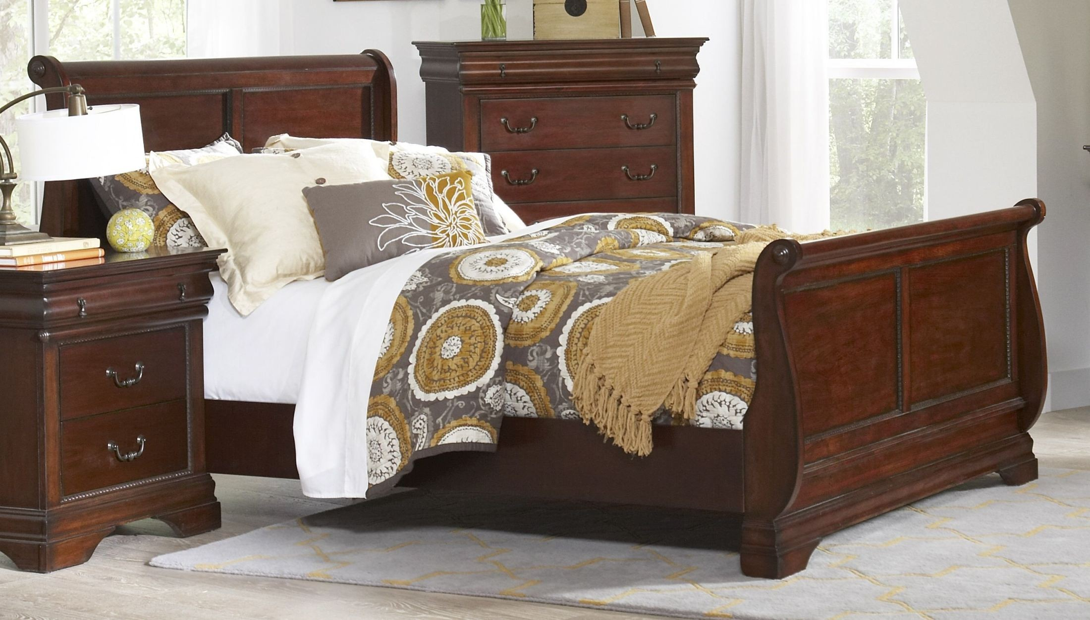 Chateau vintage cherry full sleigh bed from largo coleman furniture for Full size sleigh bedroom sets