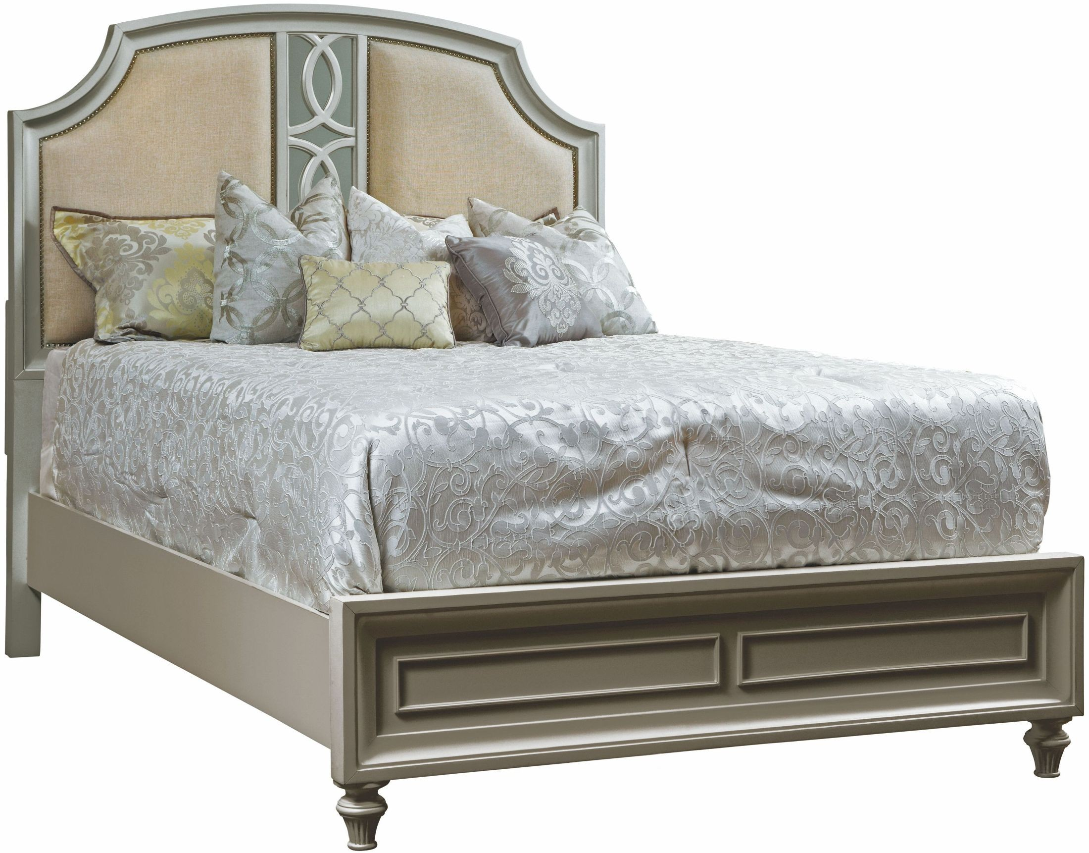 Regency Park Pearlized Silver Panel Bedroom Set. By Avalon Furniture