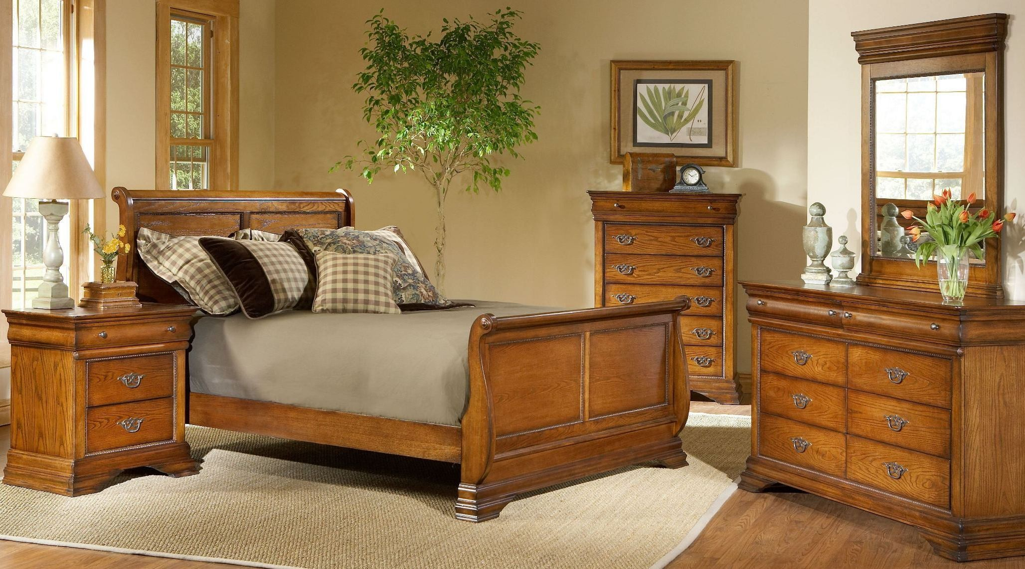 Shenandoah American Oak Sleigh Bedroom Set from Largo | Coleman ...