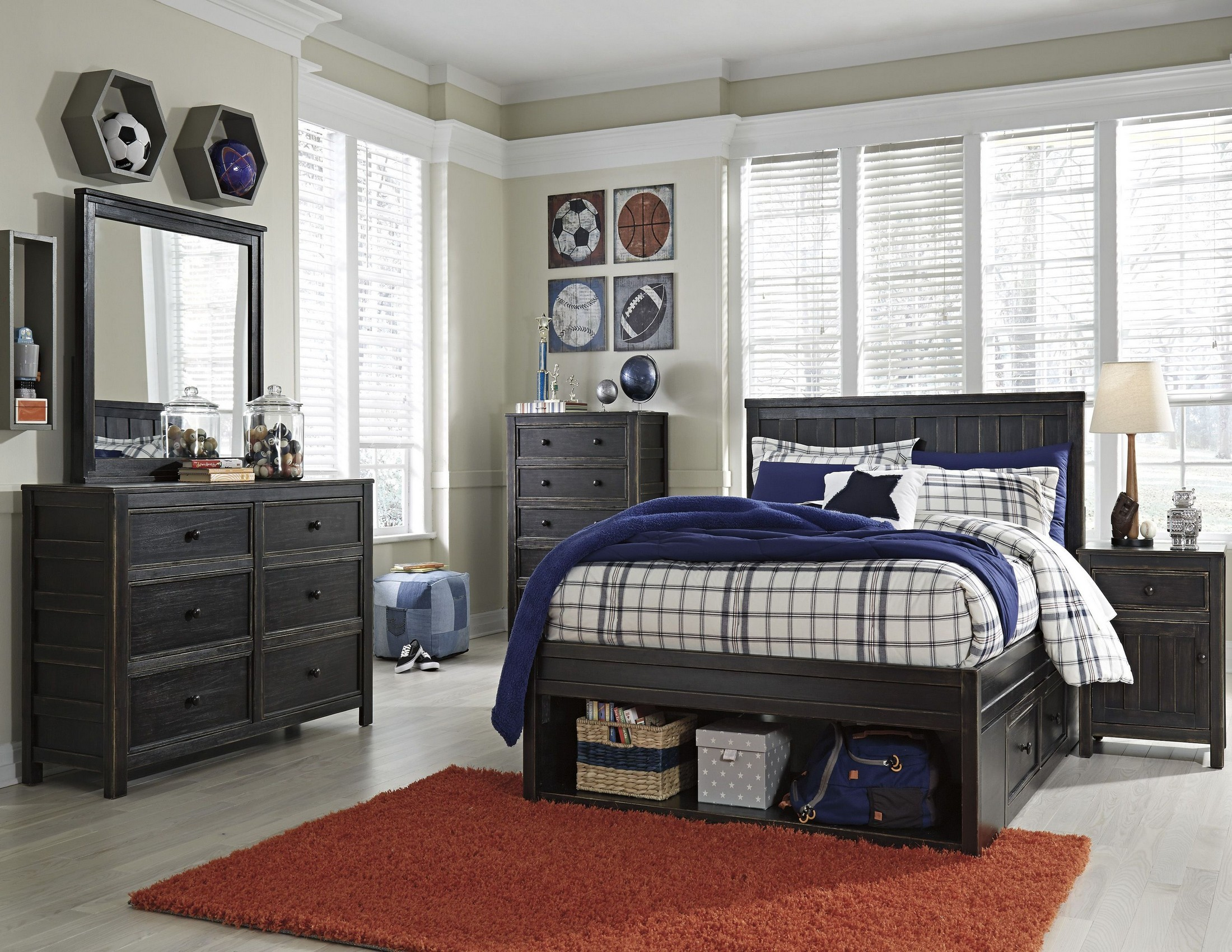 Jaysom black youth panel storage bedroom set from ashley coleman furniture for Youth storage bedroom furniture