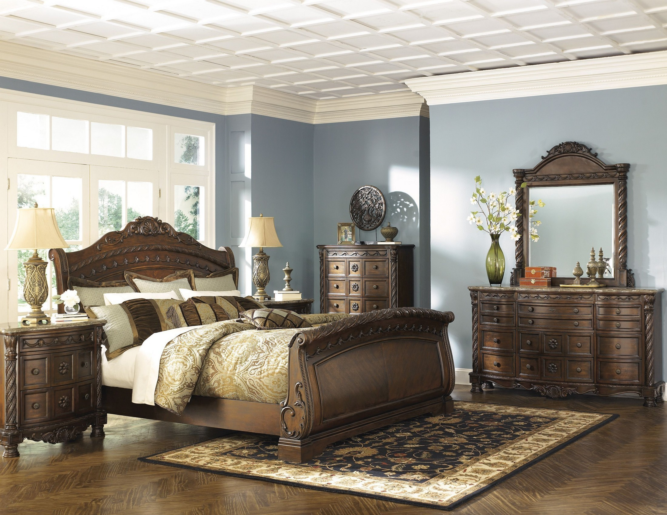 Top North Shore Sleigh Bedroom Set from Ashley (B553) | Coleman Furniture SC12