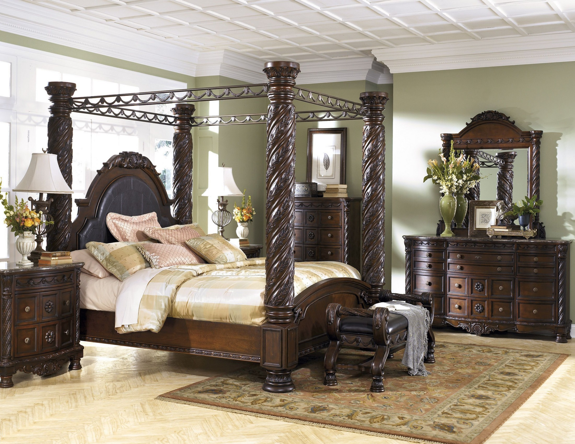 north shore canopy bedroom set. 2302104 North Shore Poster Canopy Bedroom Set from Ashley  B553 Coleman