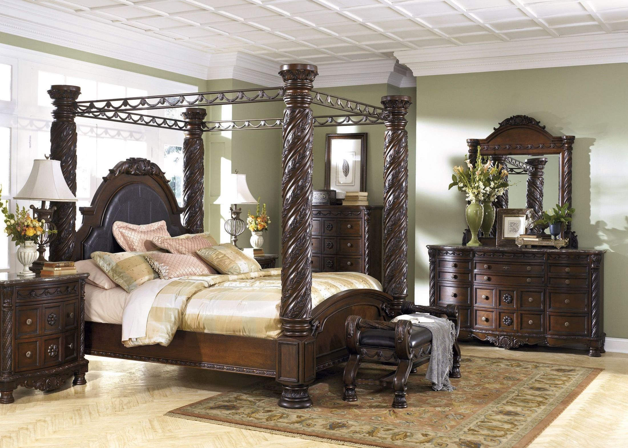 north shore poster canopy bedroom set from ashley (b553) | coleman