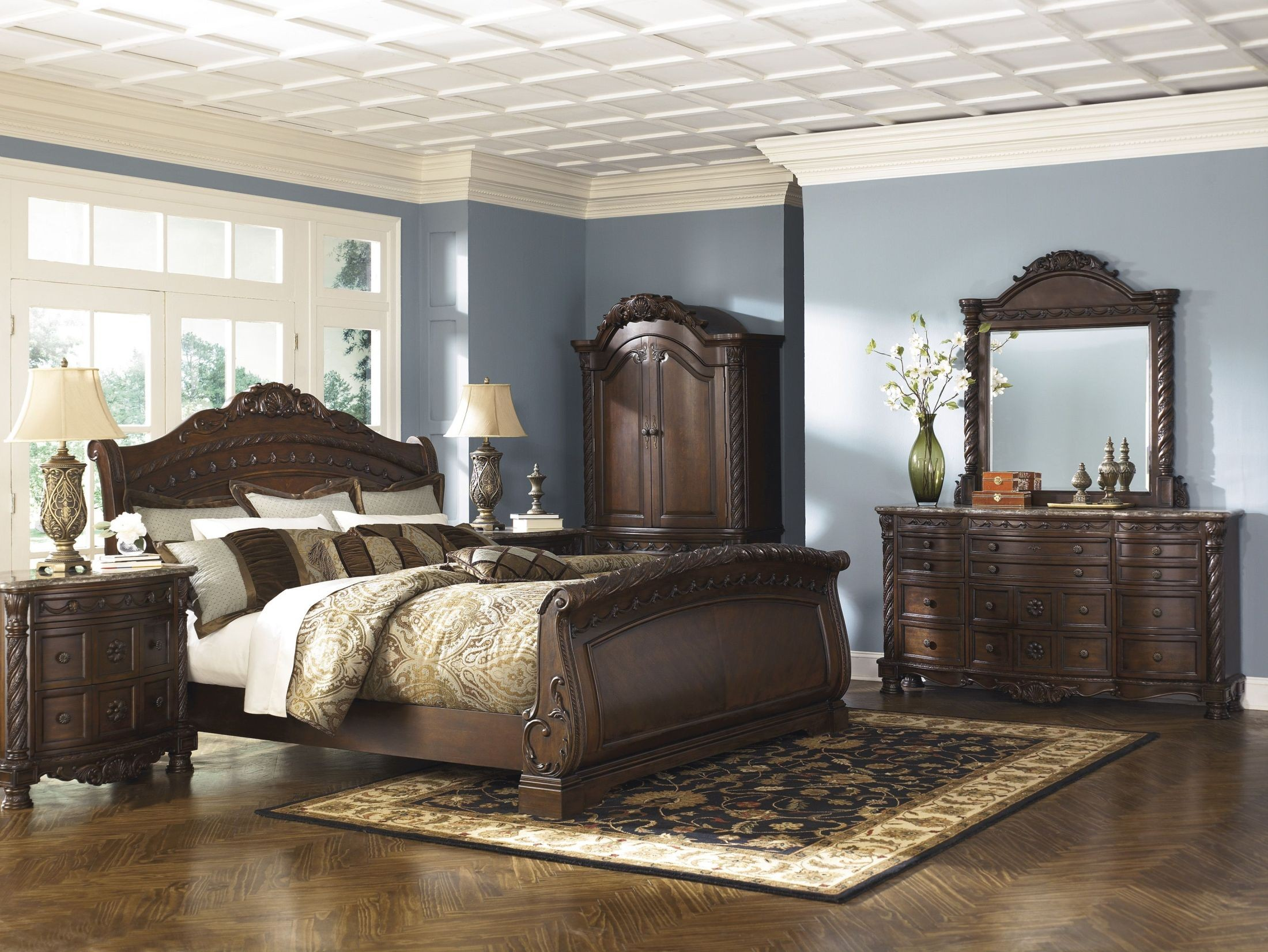 North Shore Queen Sleigh Bed from Ashley B553 77 74 75 Coleman