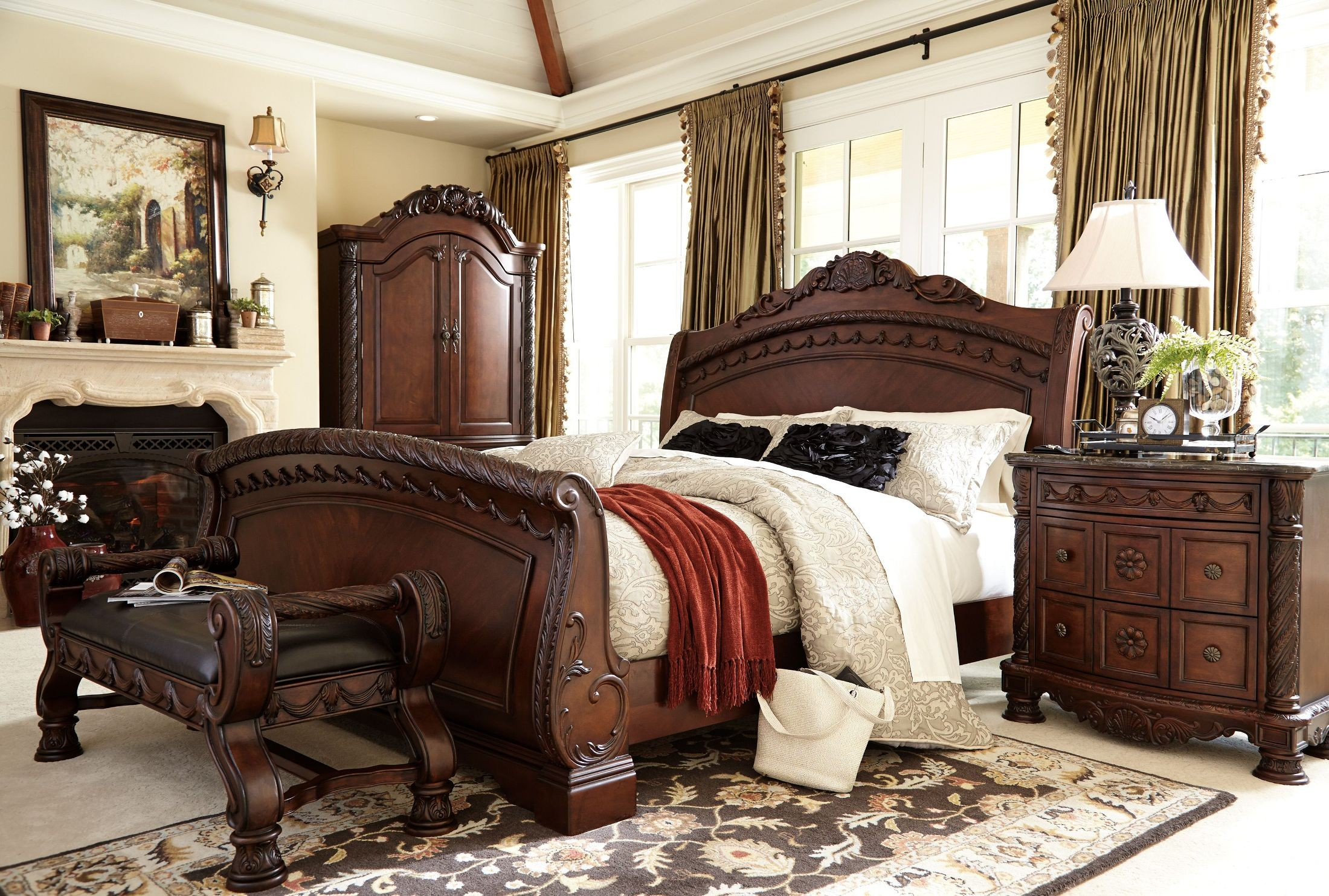 North shore cal king sleigh bed from ashley b553 78 76 73 - California king bedroom furniture ...