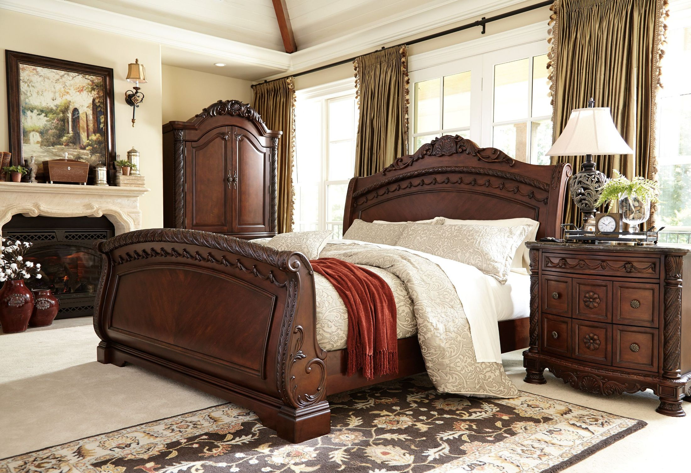 north shore sleigh bedroom set from ashley b553 14930 | b553 49tb 78 76 79 193