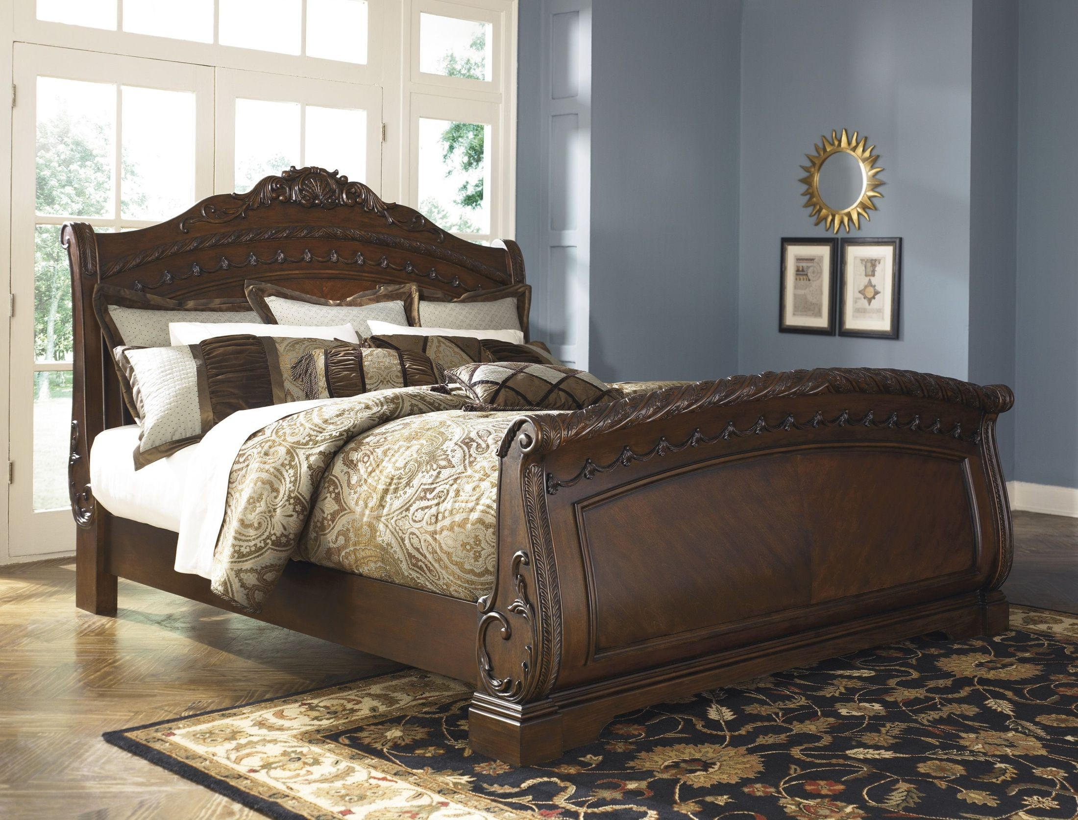 North shore sleigh bedroom set from ashley b553 - King size sleigh bed bedroom set ...