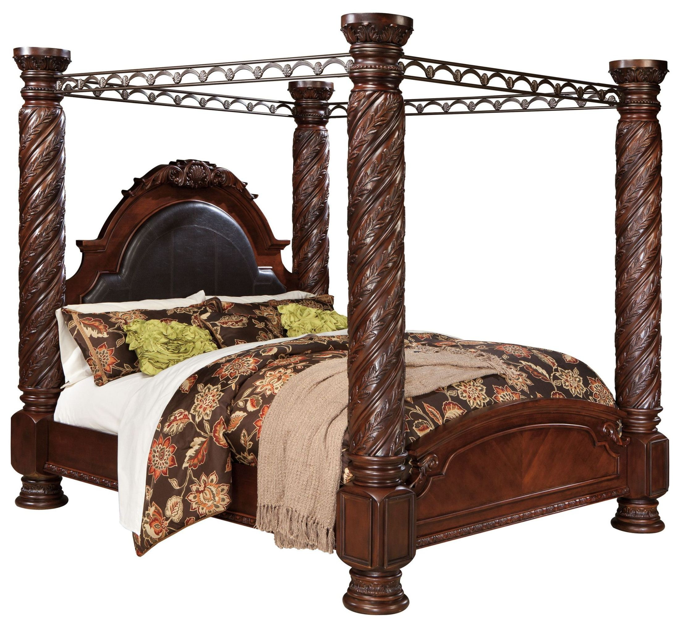 King Canopy Bedroom Sets north shore poster canopy bedroom set from ashley (b553) | coleman