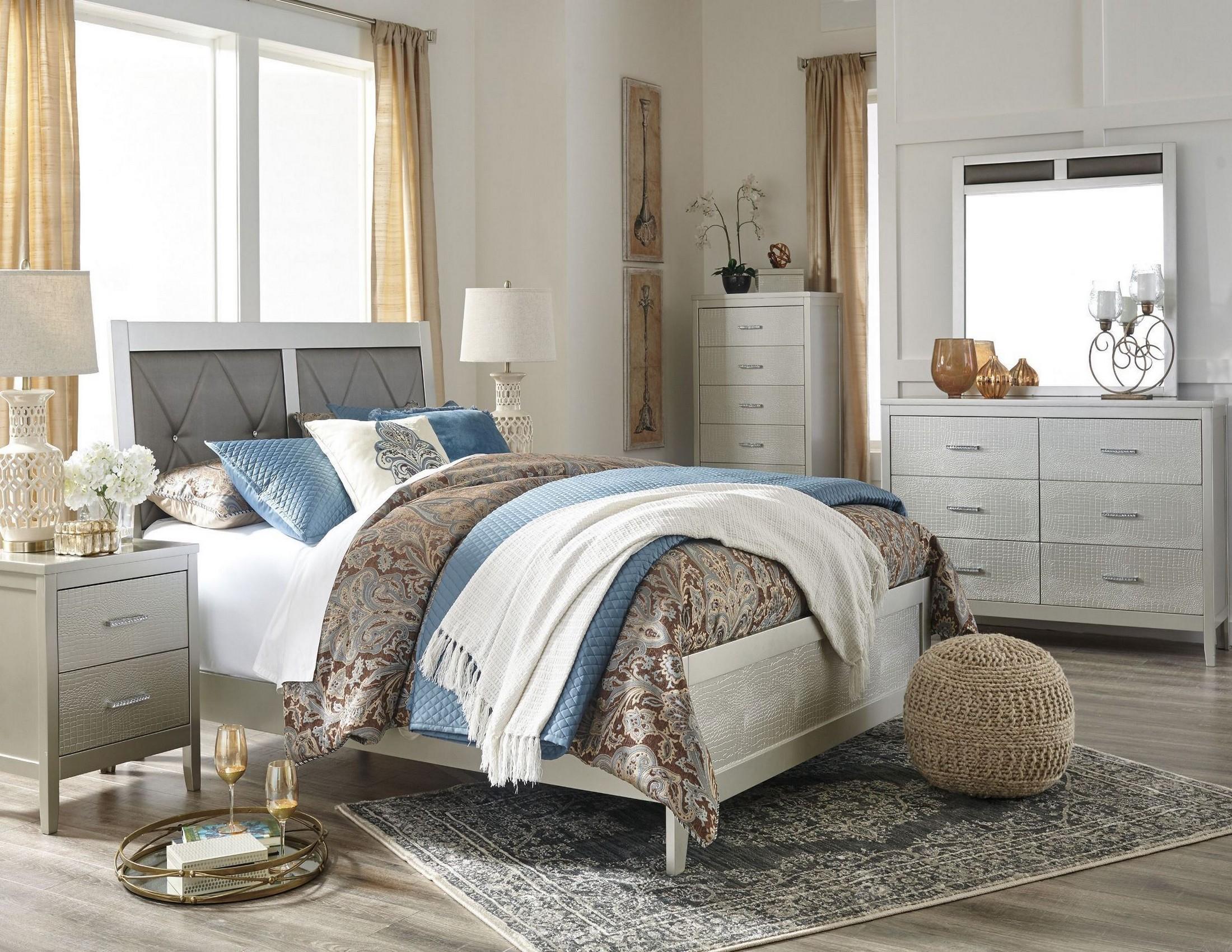 Olivet Silver Upholstered Panel Bedroom Set From Ashley Coleman Furniture