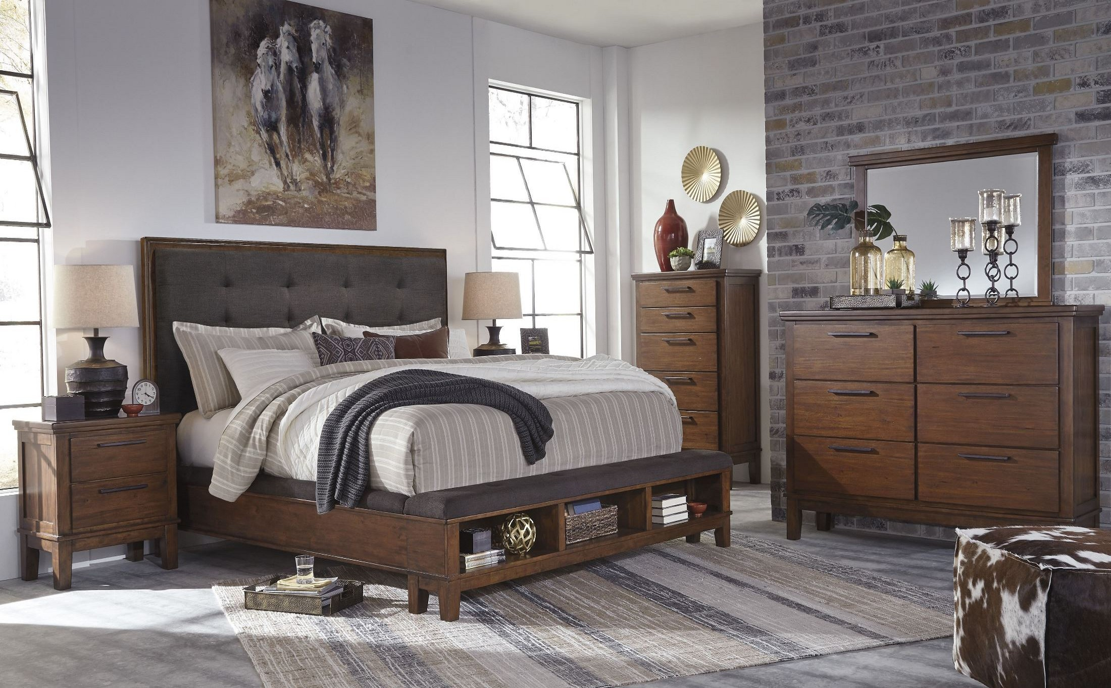 Ralene dark brown upholstered storage bedroom set from for Bedroom furniture sets tyler tx