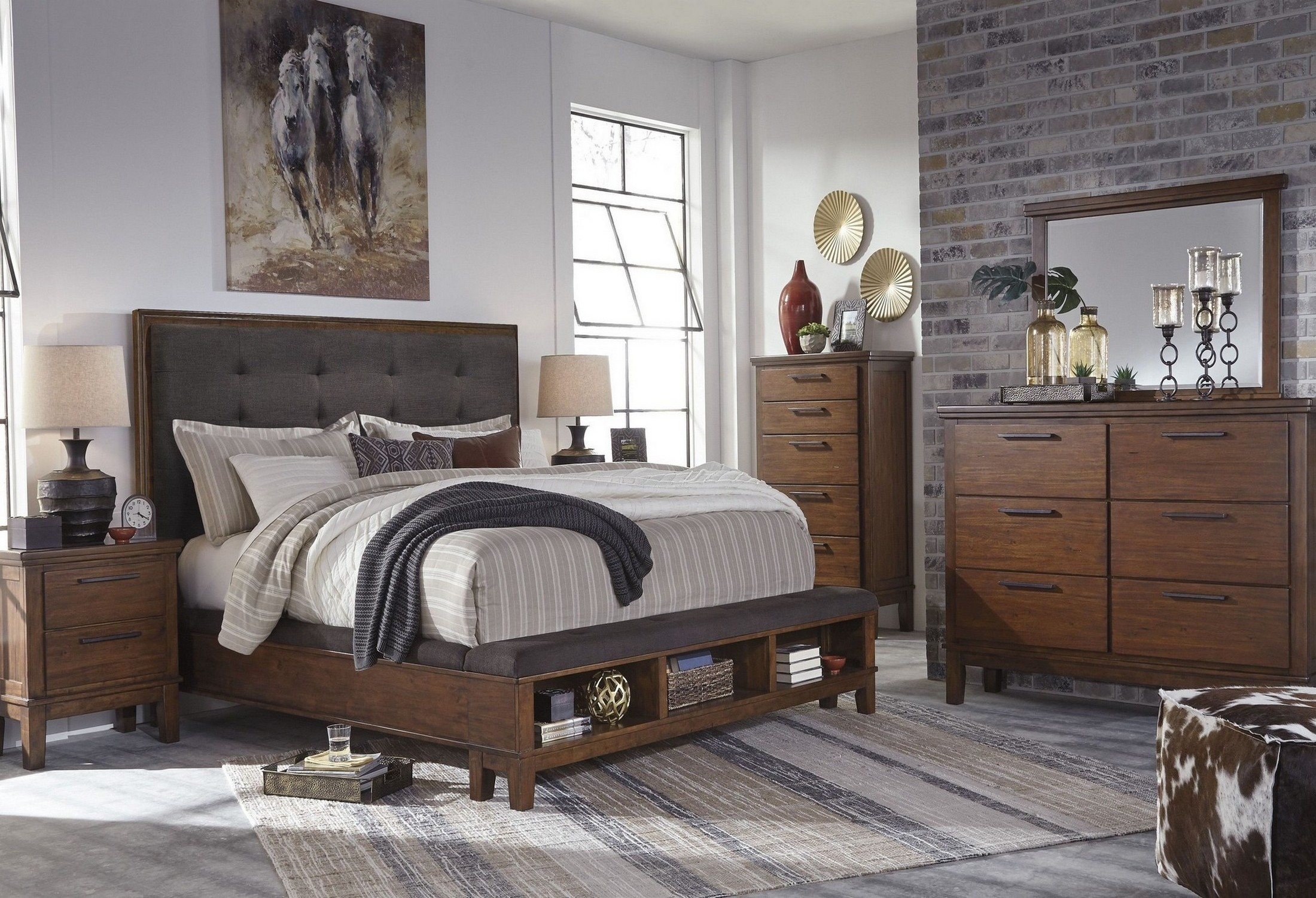 Ralene Dark Brown Upholstered Storage Bedroom Set From Ashley Coleman Furniture