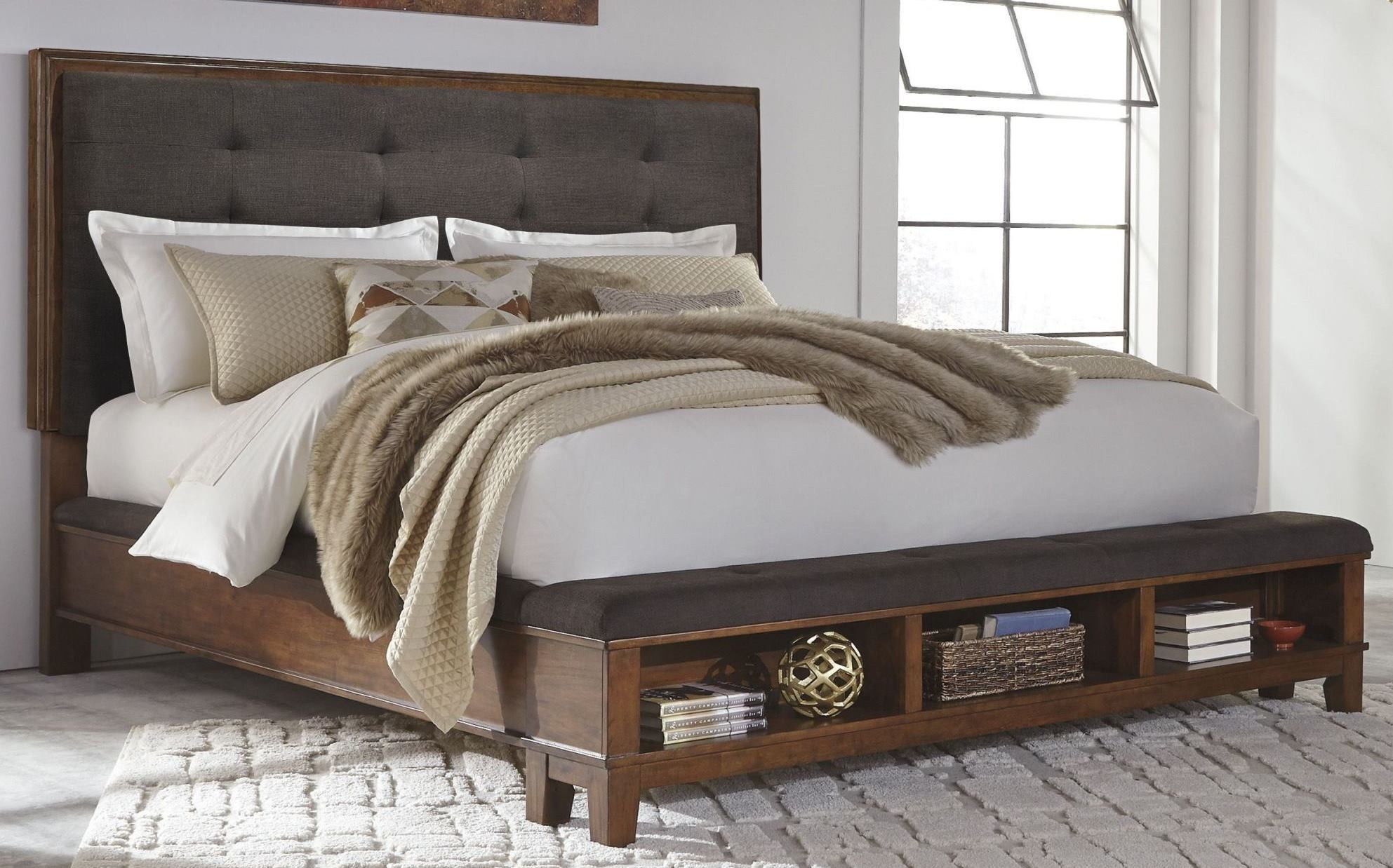 ralene dark brown king upholstered storage platform bed - King Padded Bedroom Designs