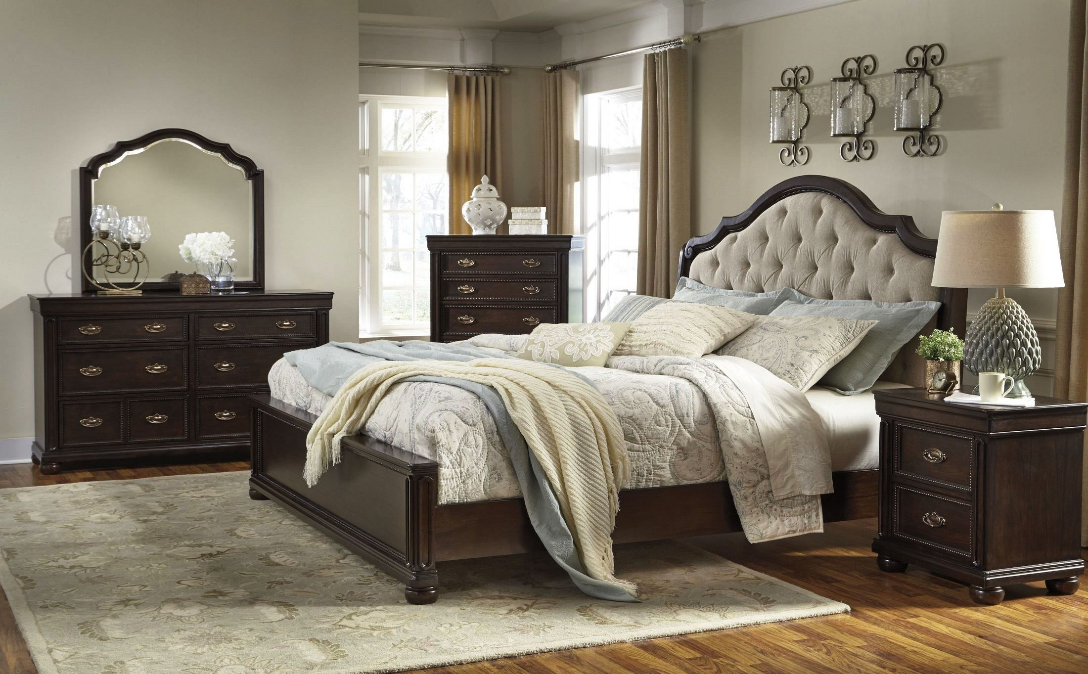 Moluxy Dark Brown Upholstered Sleigh Bedroom Set, B596-54-57-96 ...