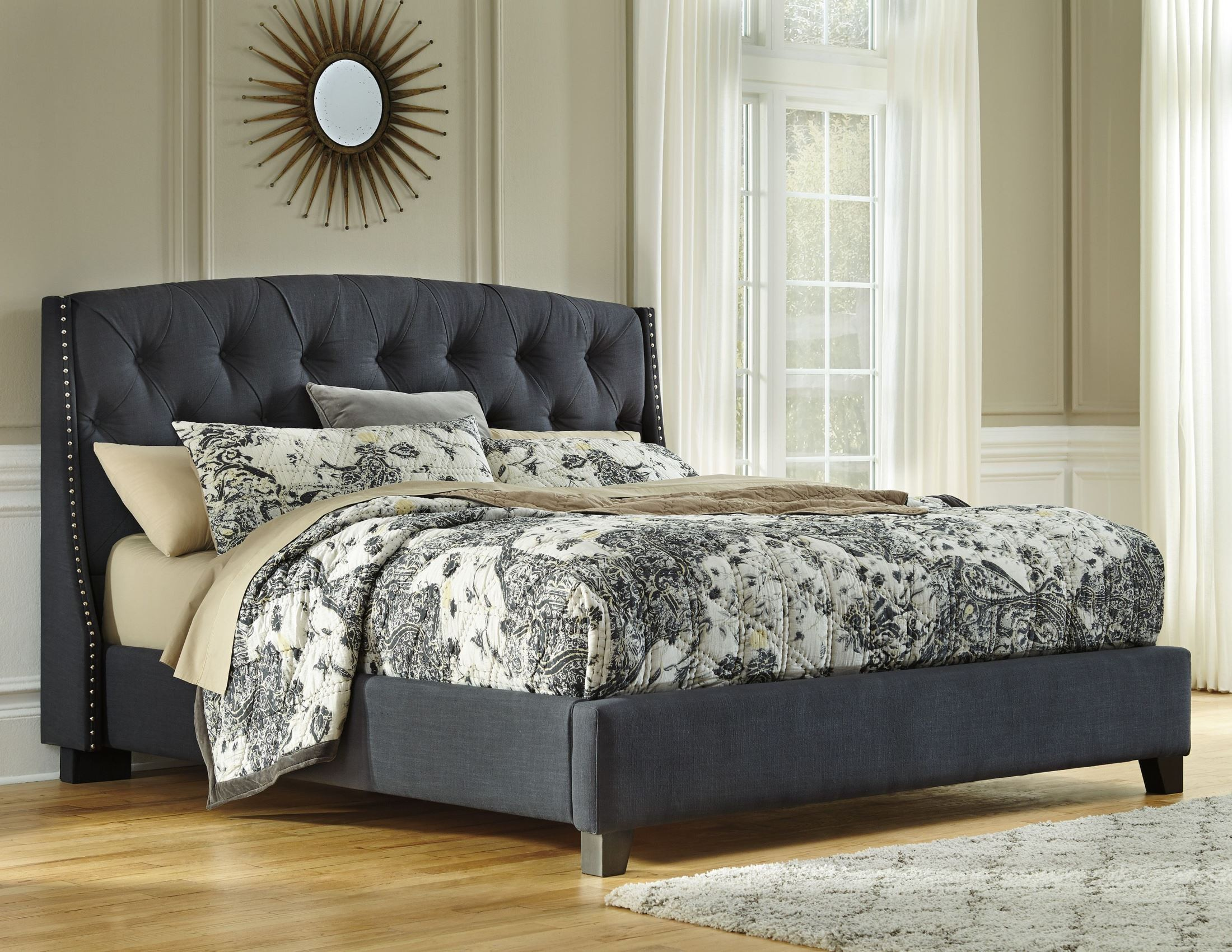 king upholstered platform bed from ashley . cal king upholstered platform bed from ashley (b