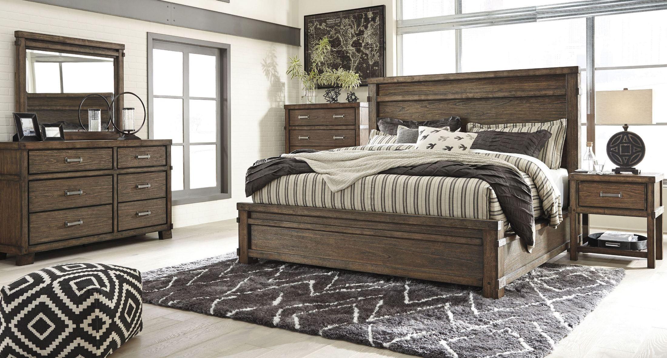 Leystone Dark Brown Panels Bedroom Set, B614-81-96, Ashley