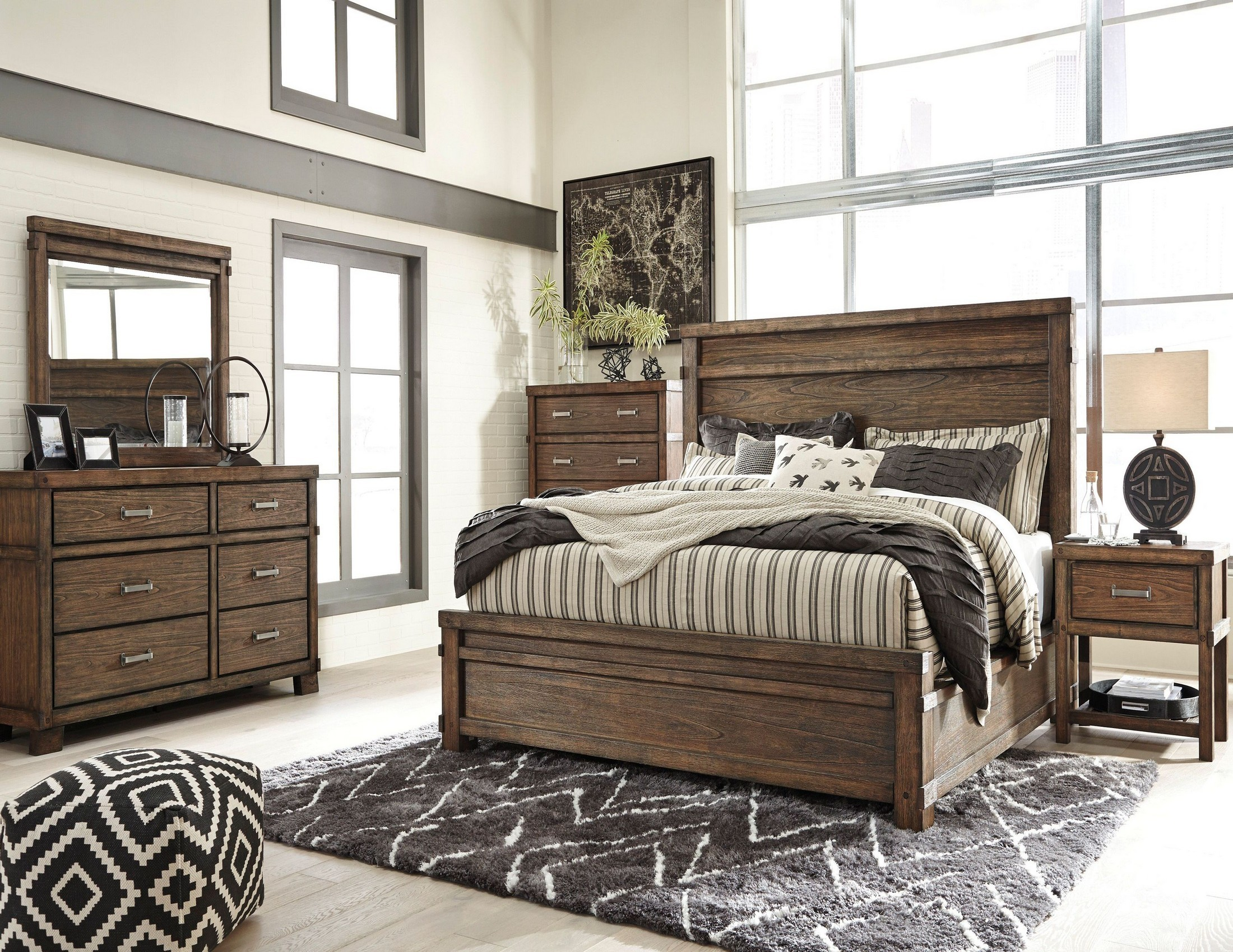 Leystone Dark Brown Panel Bedroom Set From Ashley Coleman Furniture