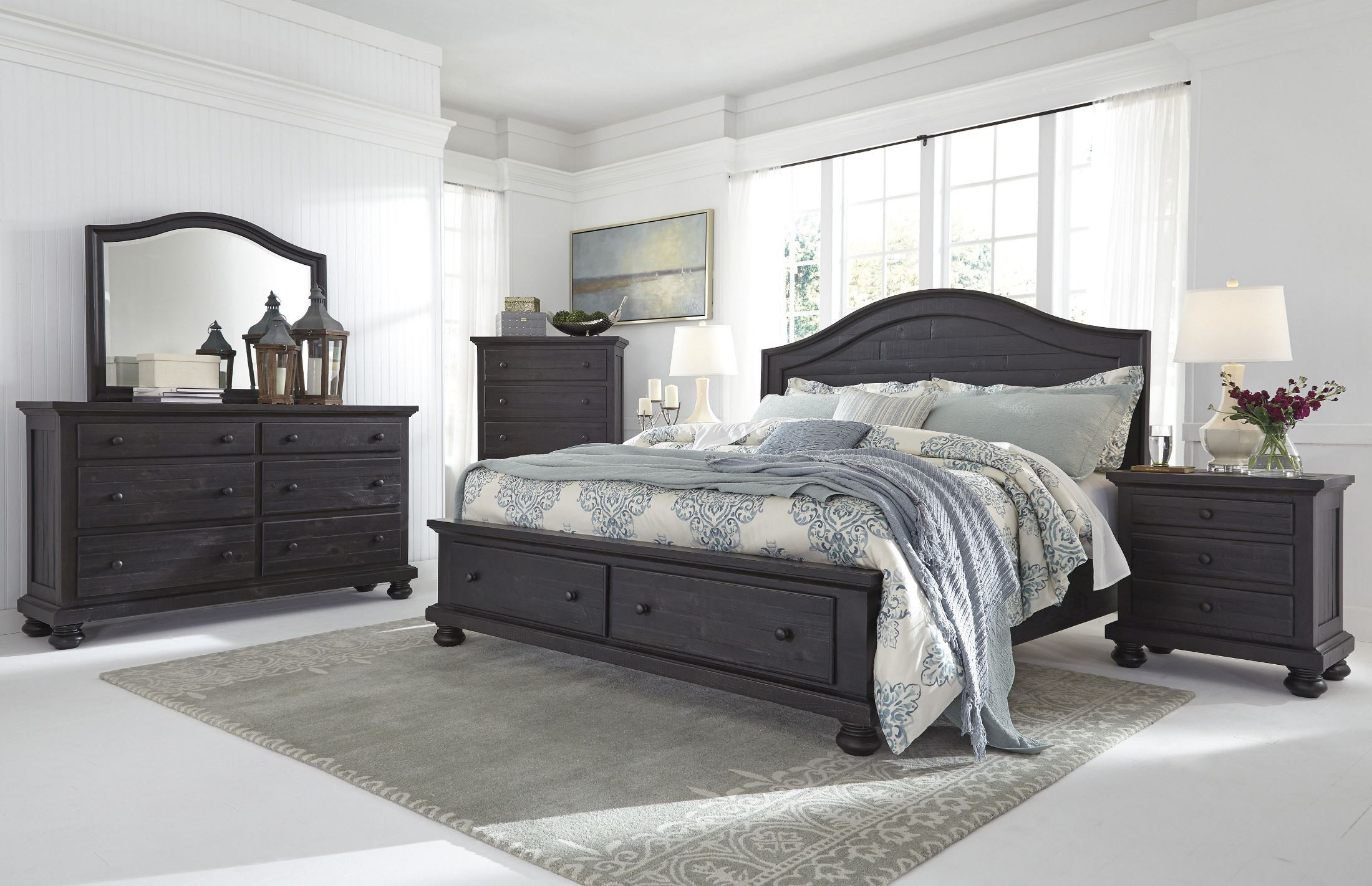 Sharlowe charcoal storage panel bedroom set from ashley - Discontinued ashley bedroom furniture ...