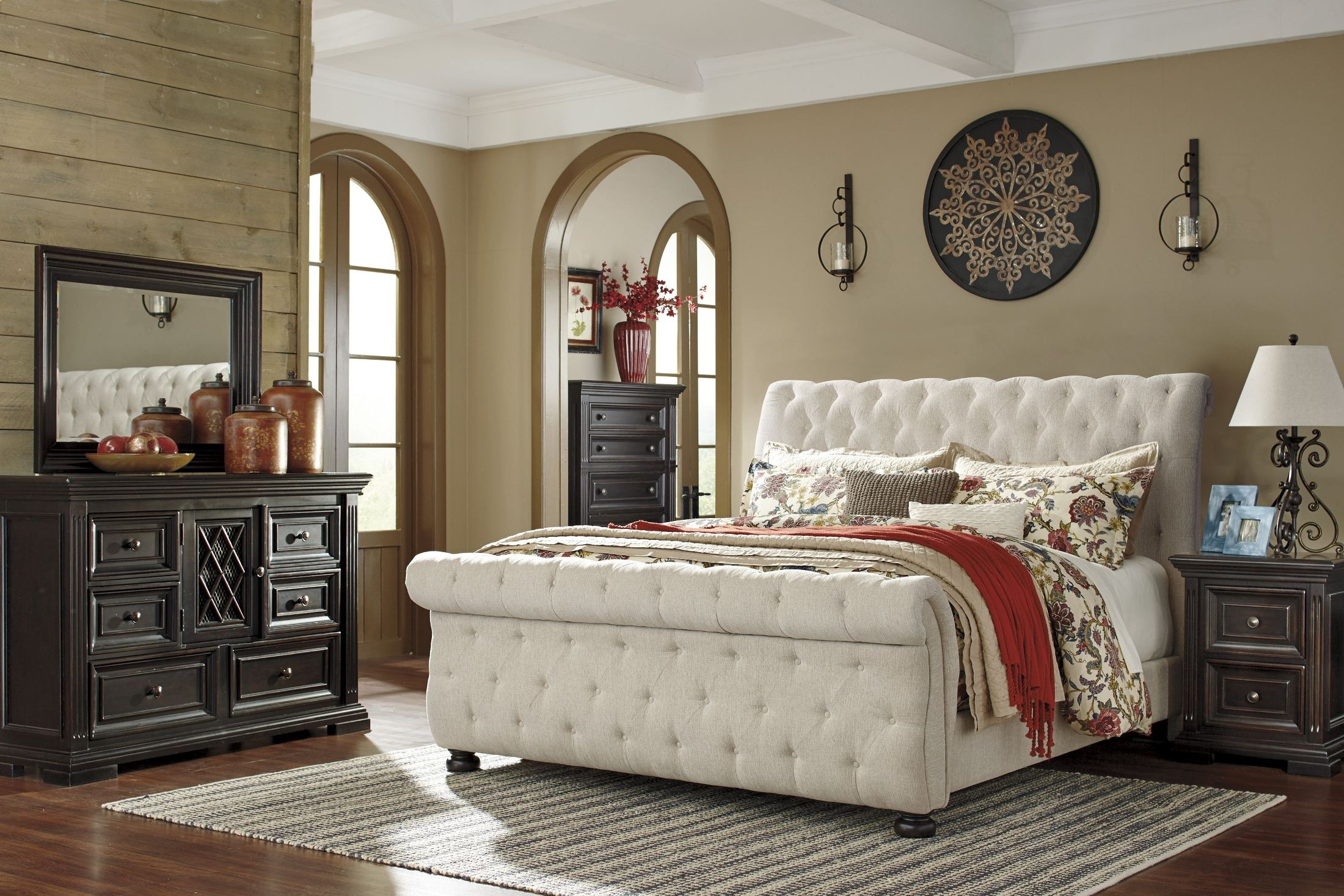 Willenburg linen queen upholstered sleigh bed from ashley for Bedroom set and mattress
