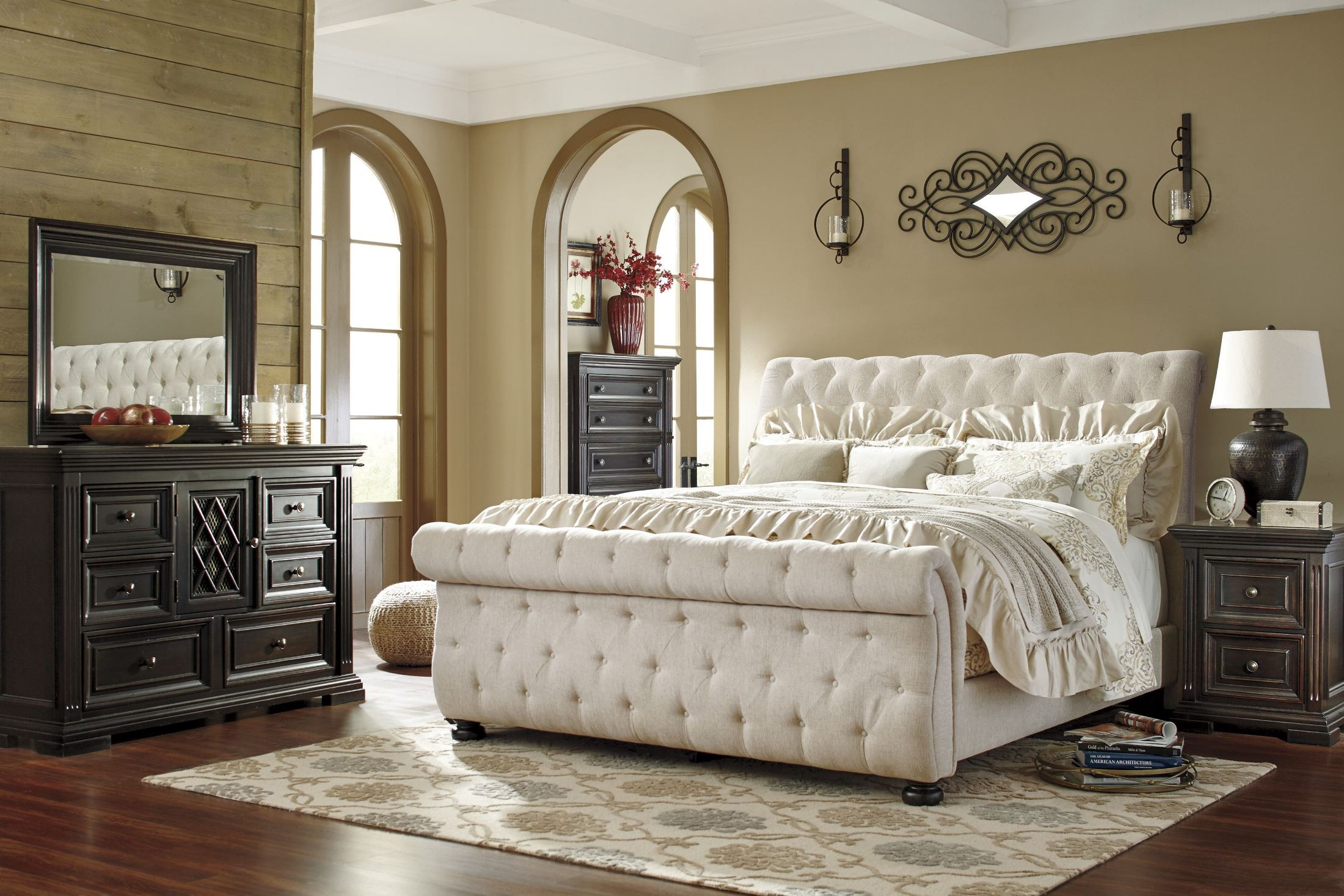 Willenburg linen cal king upholstered sleigh bed from - King size sleigh bed bedroom set ...