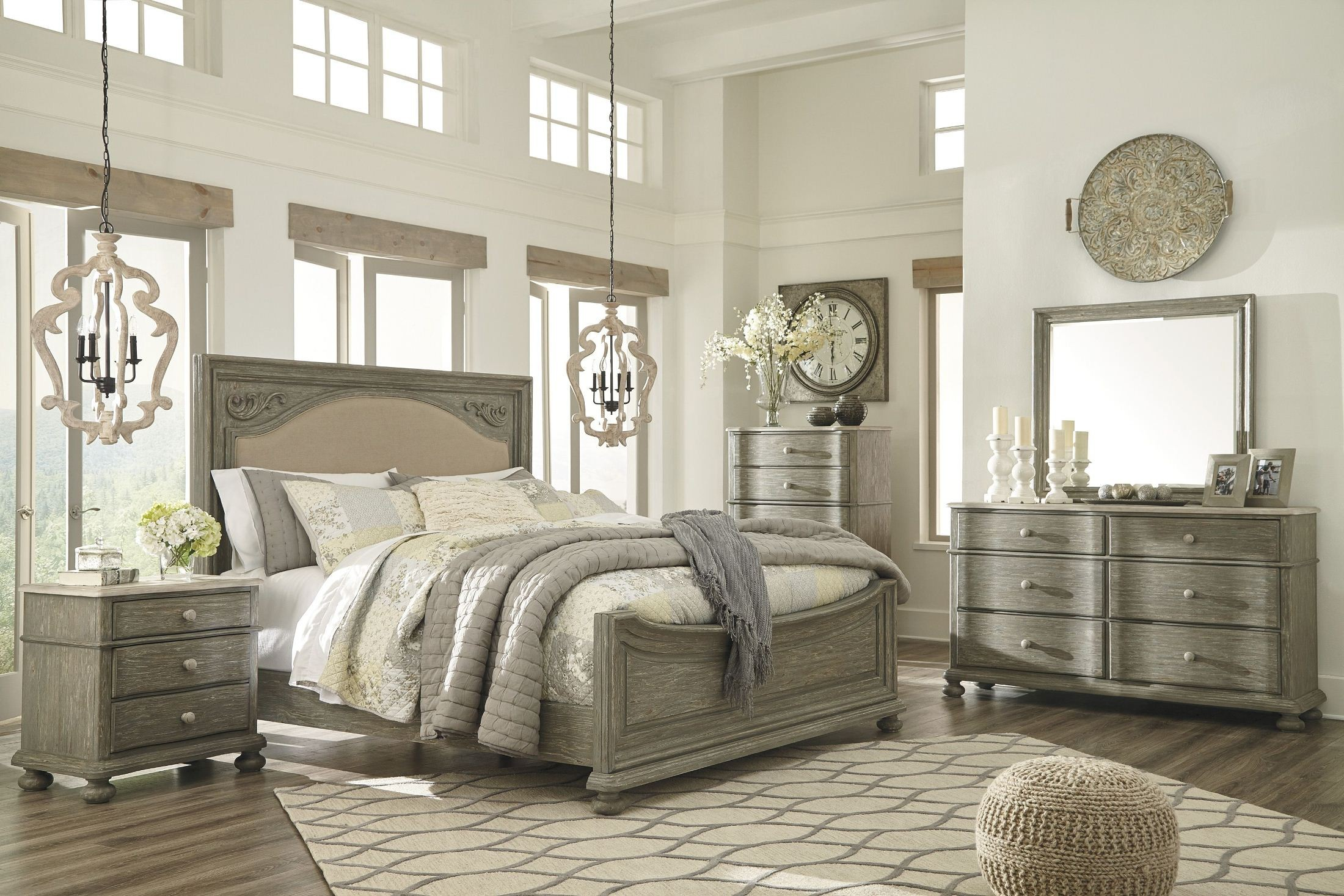 Marleny Gray And Whitewash Upholstered Panel Bedroom Set From Ashley Coleman Furniture