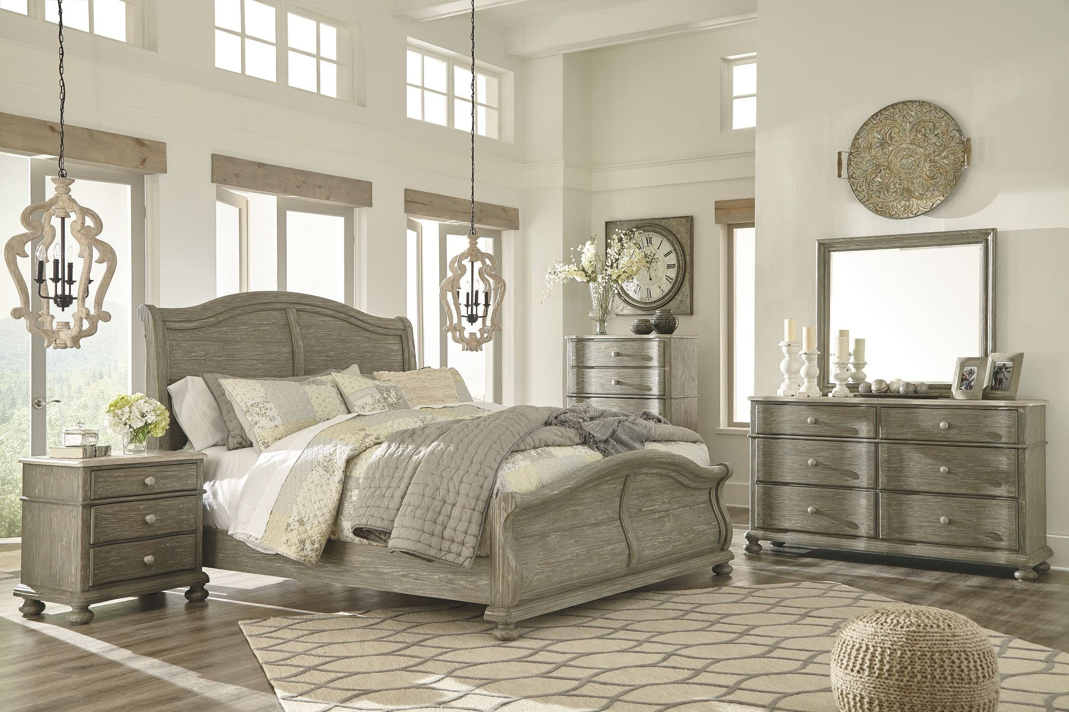 Marleny Gray And Whitewash Sleigh Bedroom Set From Ashley