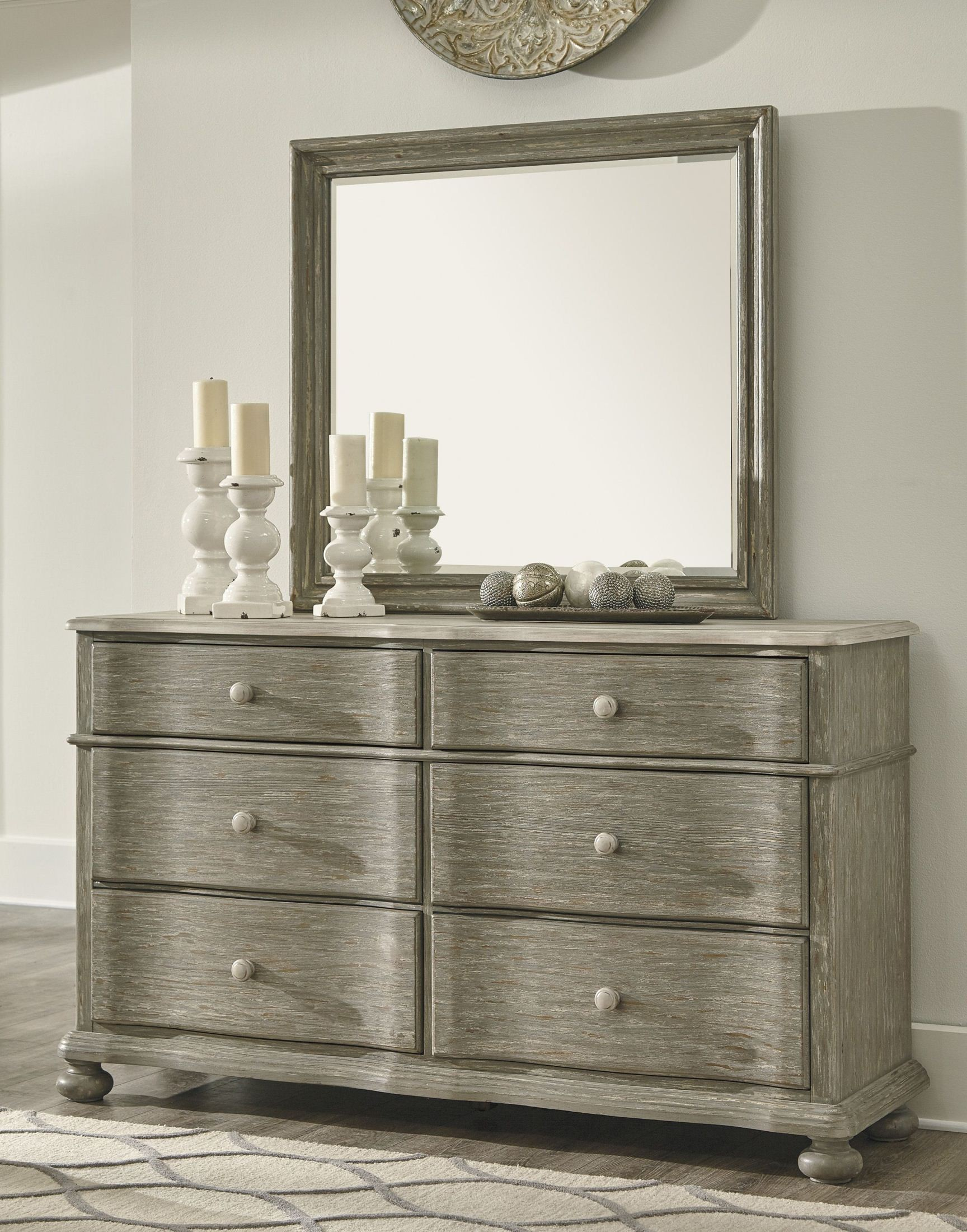 Marleny Gray and Whitewash Bedroom Mirror from Ashley