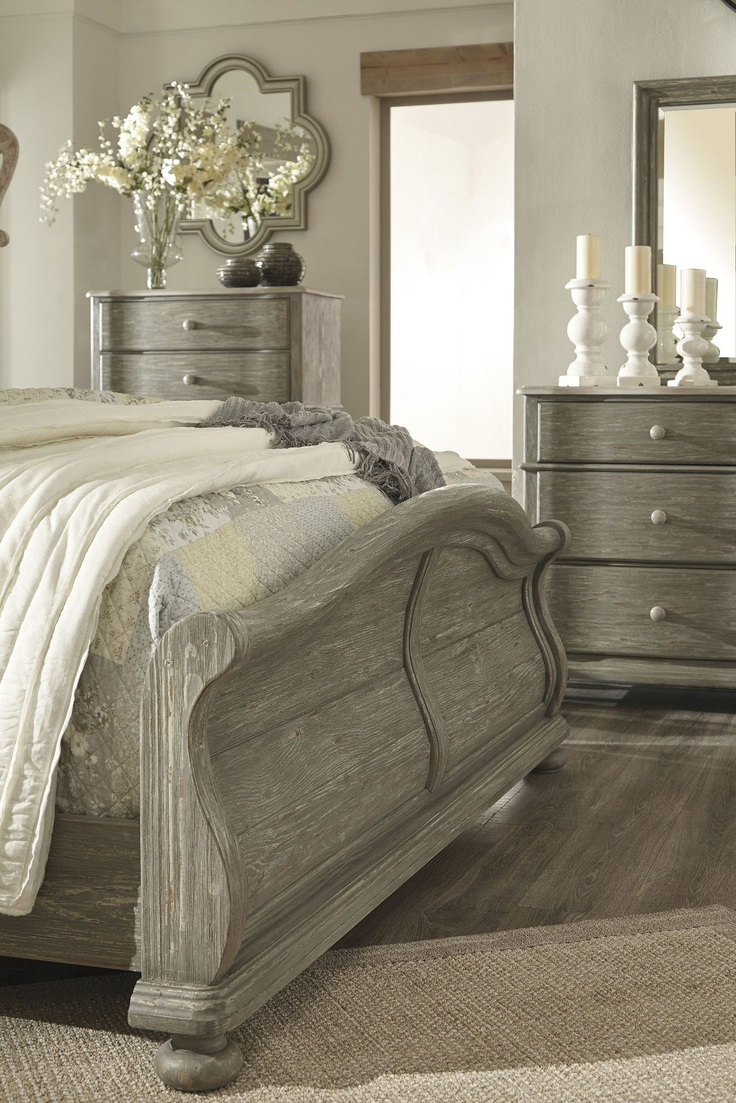 Marleny Gray and Whitewash Sleigh Bedroom Set from Ashley ...