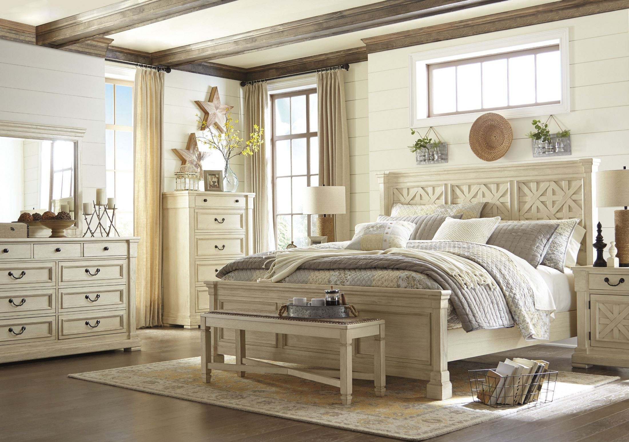 Bolanburg white louvered panel bedroom set b647 54 77 96 - King size bedroom sets for sale by owner ...