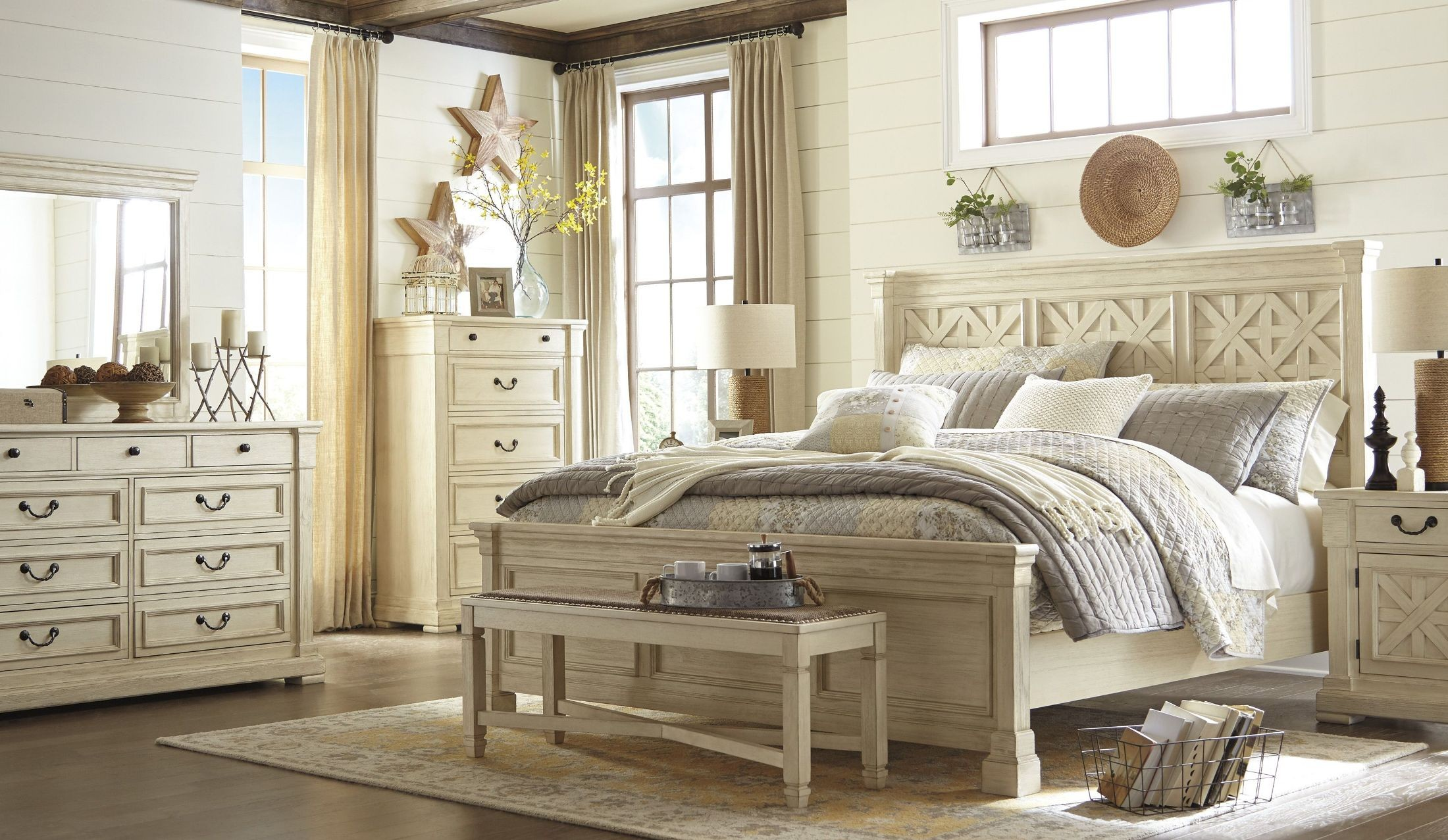 master bedroom furniture king bolanburg white panel bed from coleman 16069