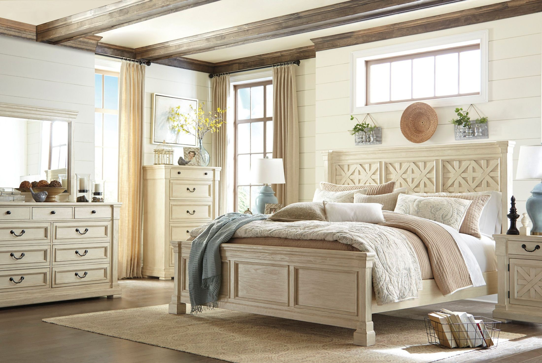 Maribel 3 pc bedroom dresser mirror amp queen full panel headboard - 2295394