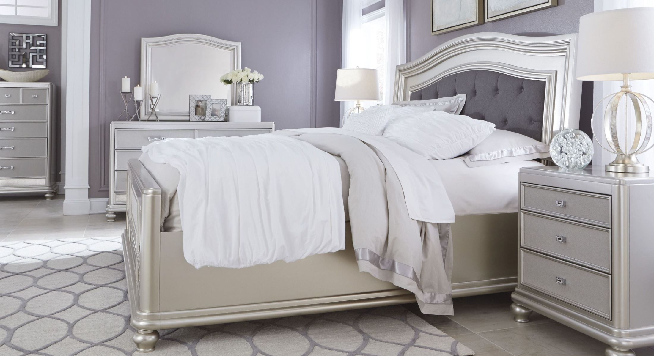 Coralayne silver bedroom set from ashley b650 157 54 96 - Ashley furniture bedroom packages ...