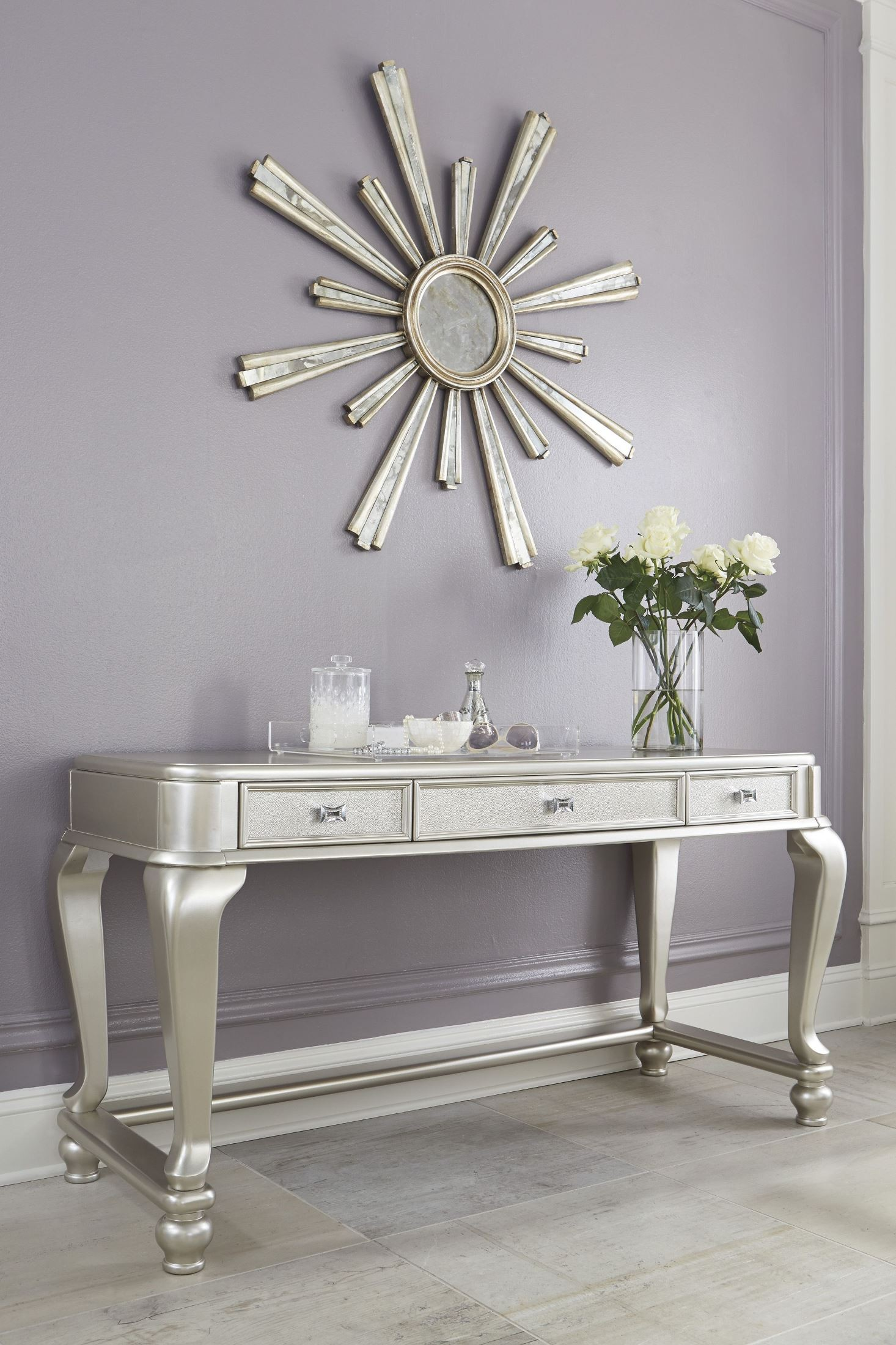 Coralayne Silver 3 Drawer Vanity From Ashley B650 22 Coleman Furniture