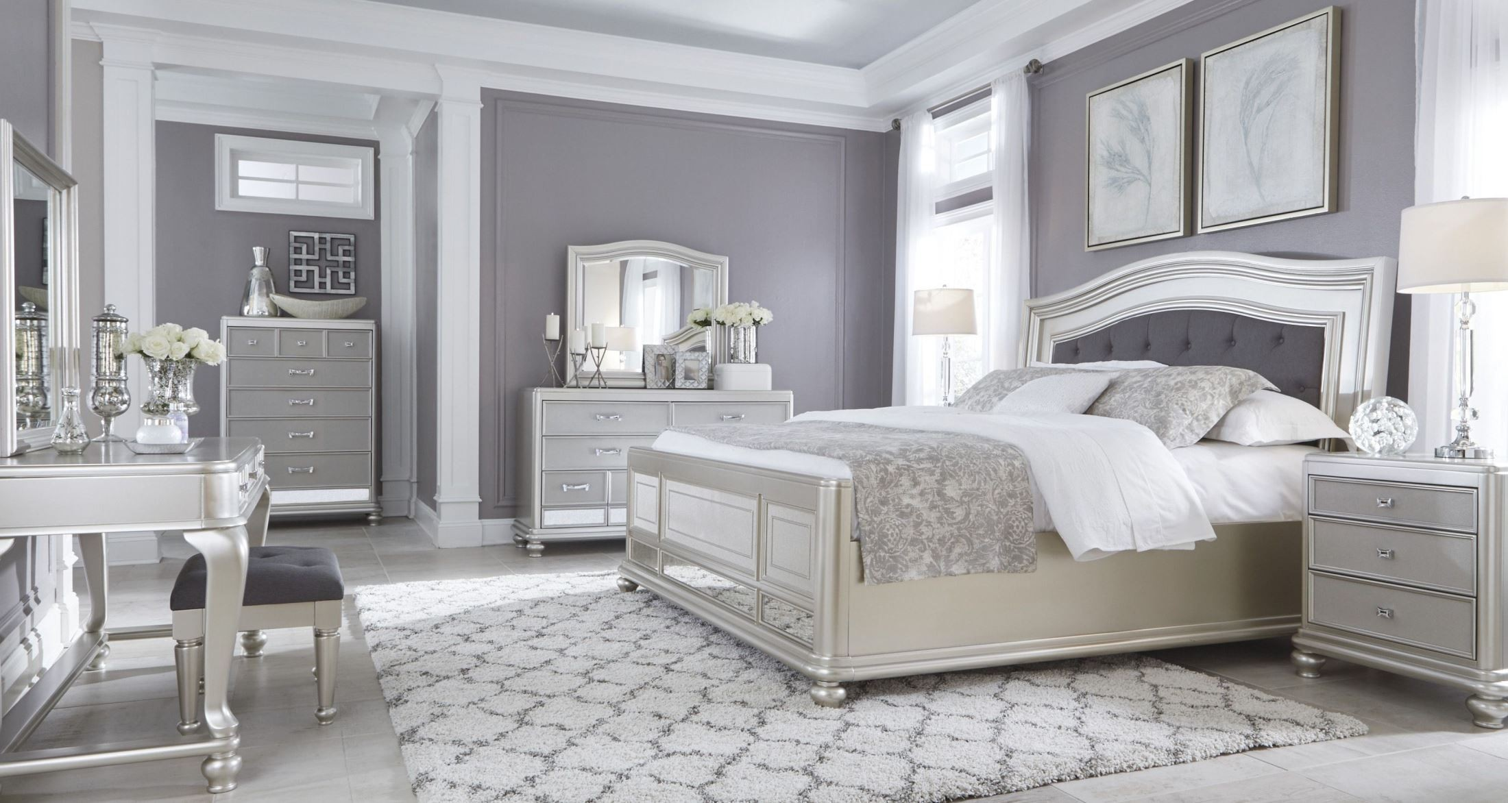Coralayne silver bedroom set from ashley b650 157 54 96 for Bedroom sets designs