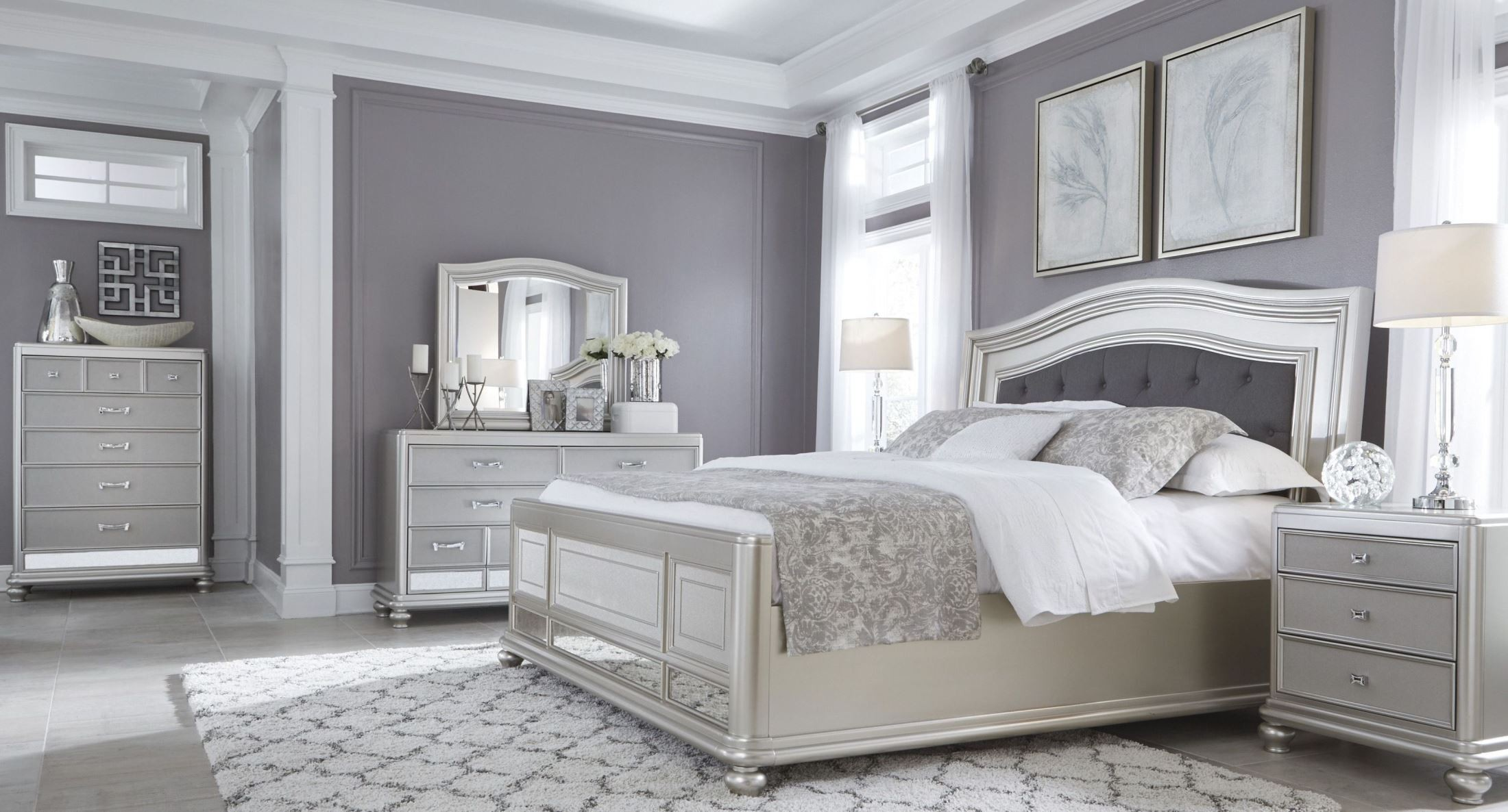 Coralayne silver bedroom set from ashley b650 157 54 96 Gray bedroom furniture