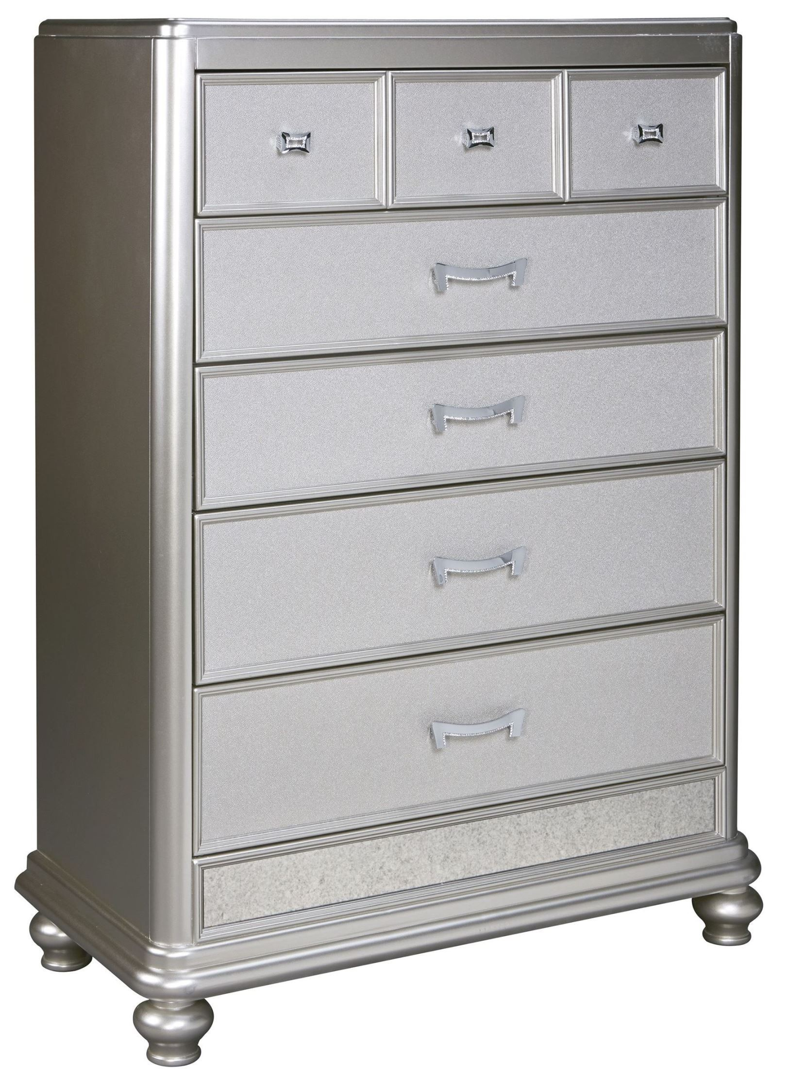 Coralayne Silver 5 Drawer Chest From Ashley B650 46