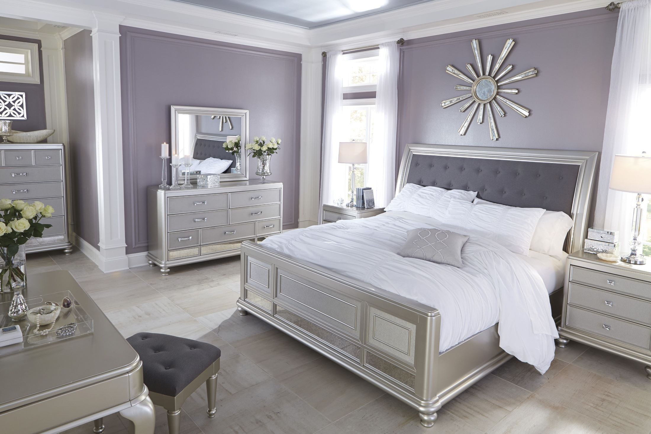 Coralayne silver bedroom set b650 157 54 96 ashley furniture - Ashley furniture bedroom packages ...