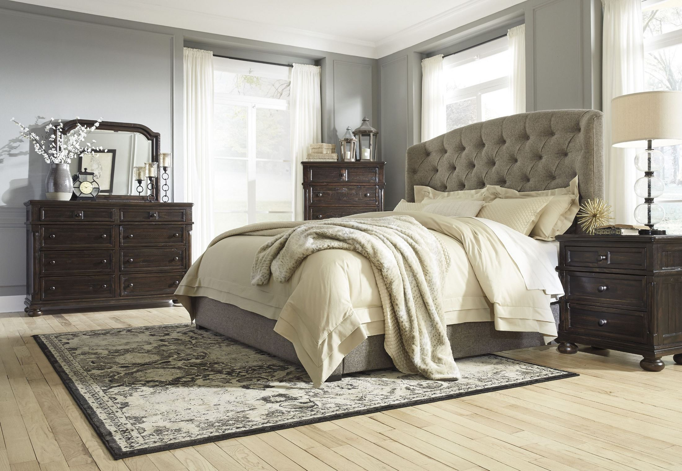 upholstered bedroom furniture gerlane graphite upholstered panel bedroom set b657 74 77 13696