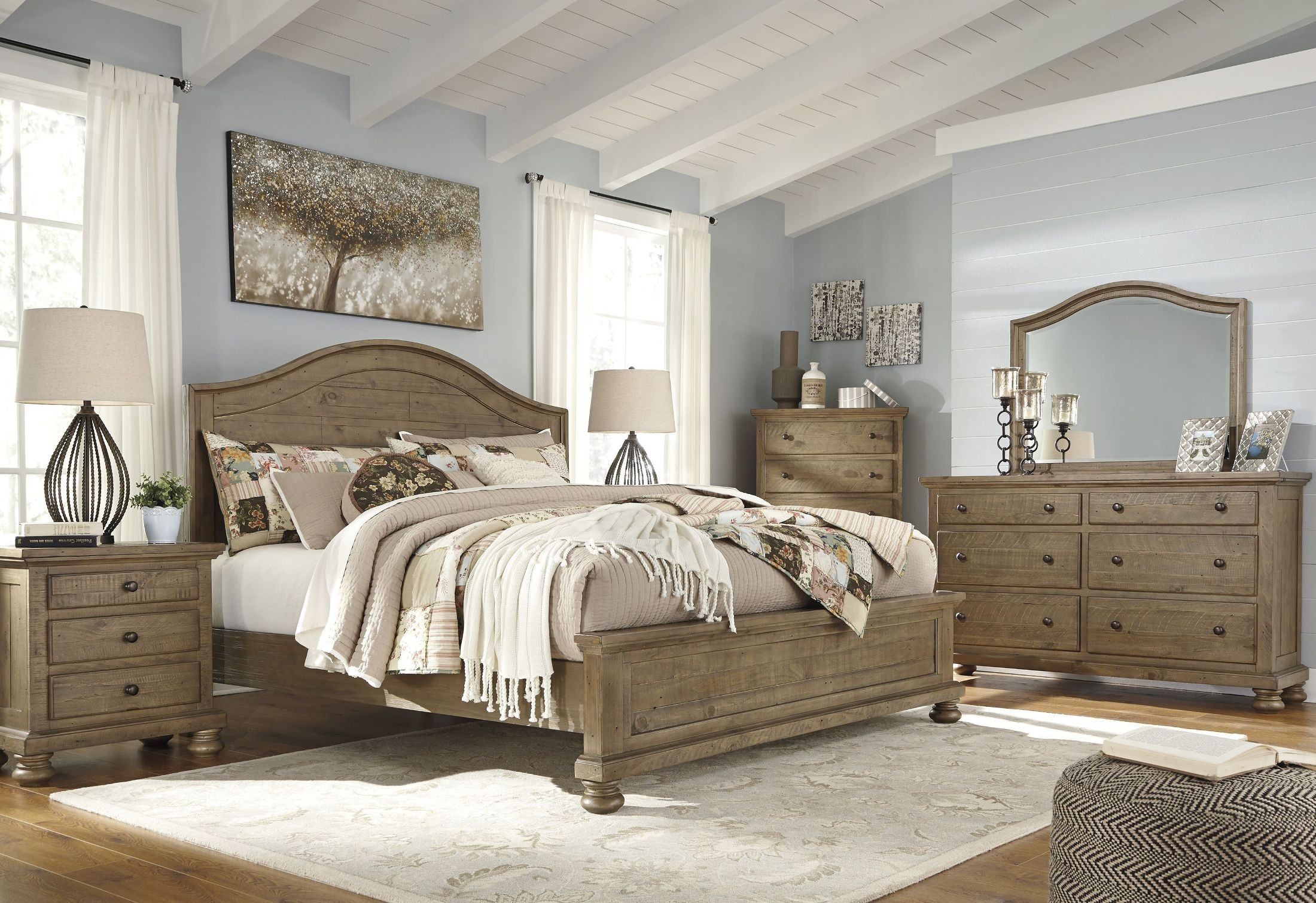 brown bedroom furniture trishley light brown panel bedroom set from 10952