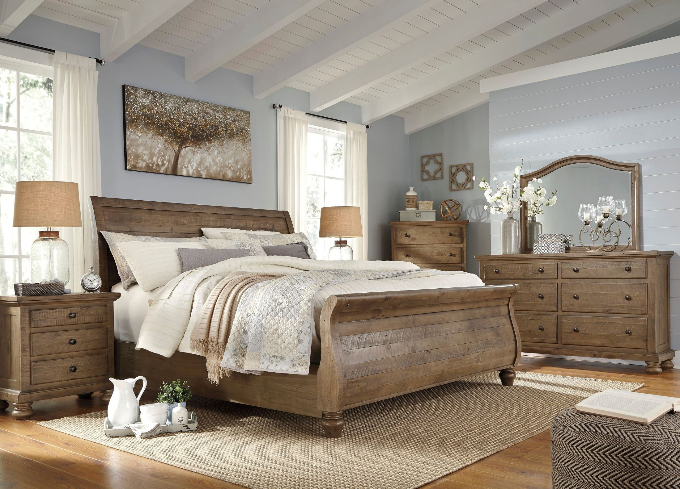 Trishley Light Brown Sleigh Bedroom Set From Ashley Coleman Furniture
