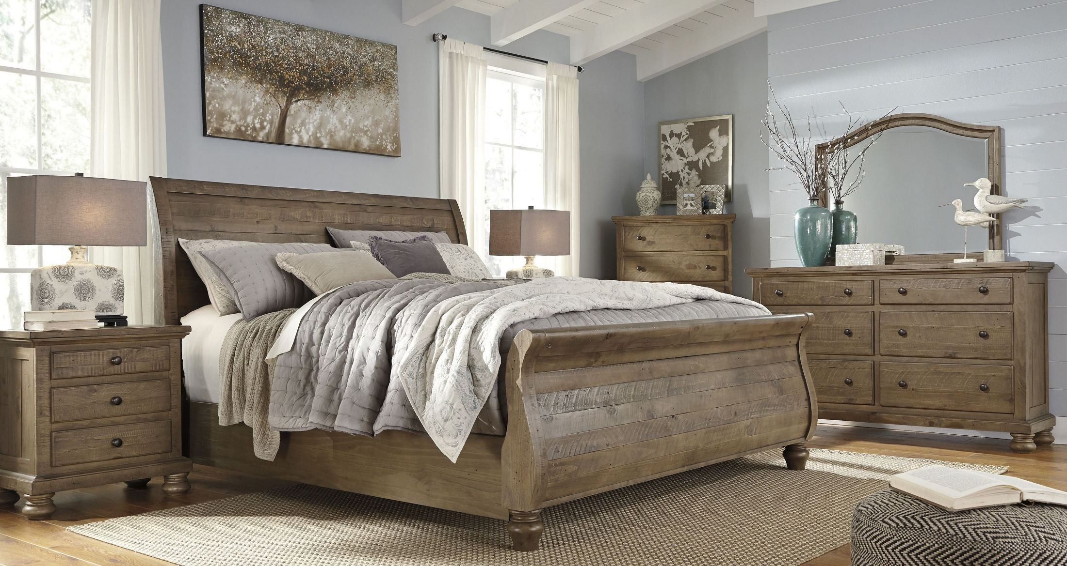 Trishley light brown king sleigh bed from ashley coleman for King sleigh bed bedroom sets