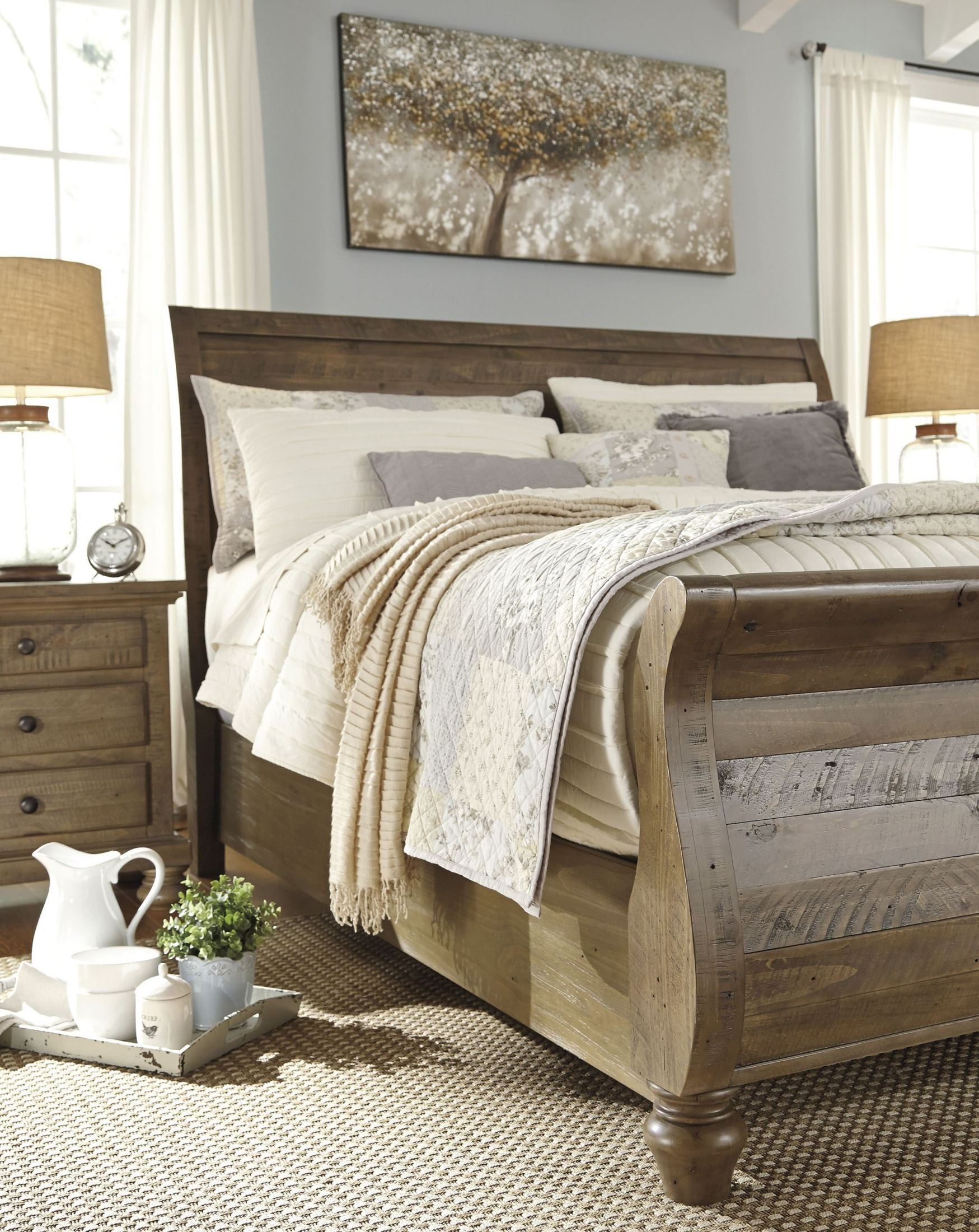 light brown bedroom furniture trishley light brown sleigh bedroom set b659 77 74 98 15819