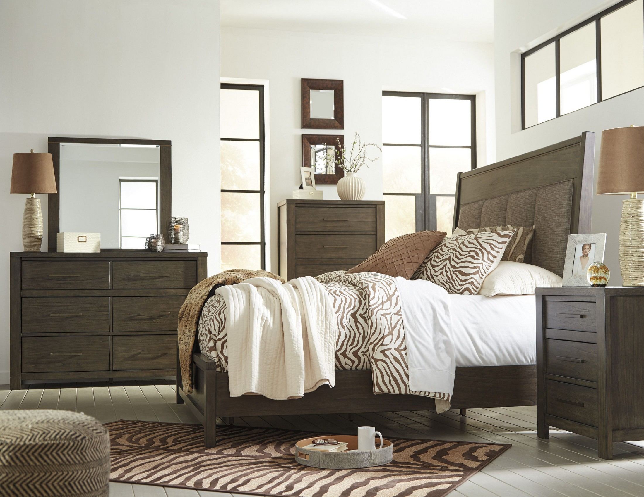 Camilone Dark Gray Upholstered Bedroom Set From Ashley