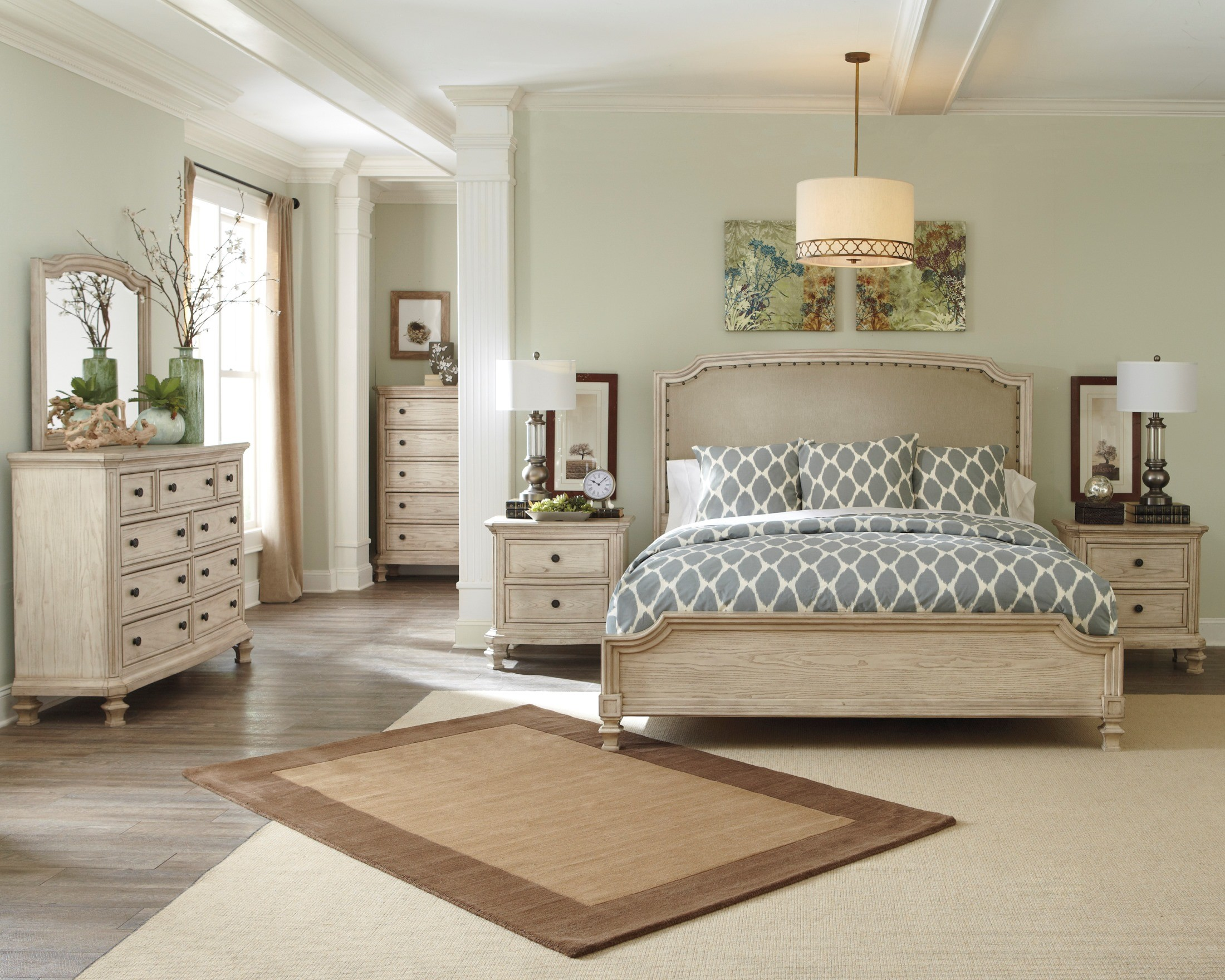 Demarlos Upholstered Panel Bedroom Set from Ashley (B693-77-74-96 ...