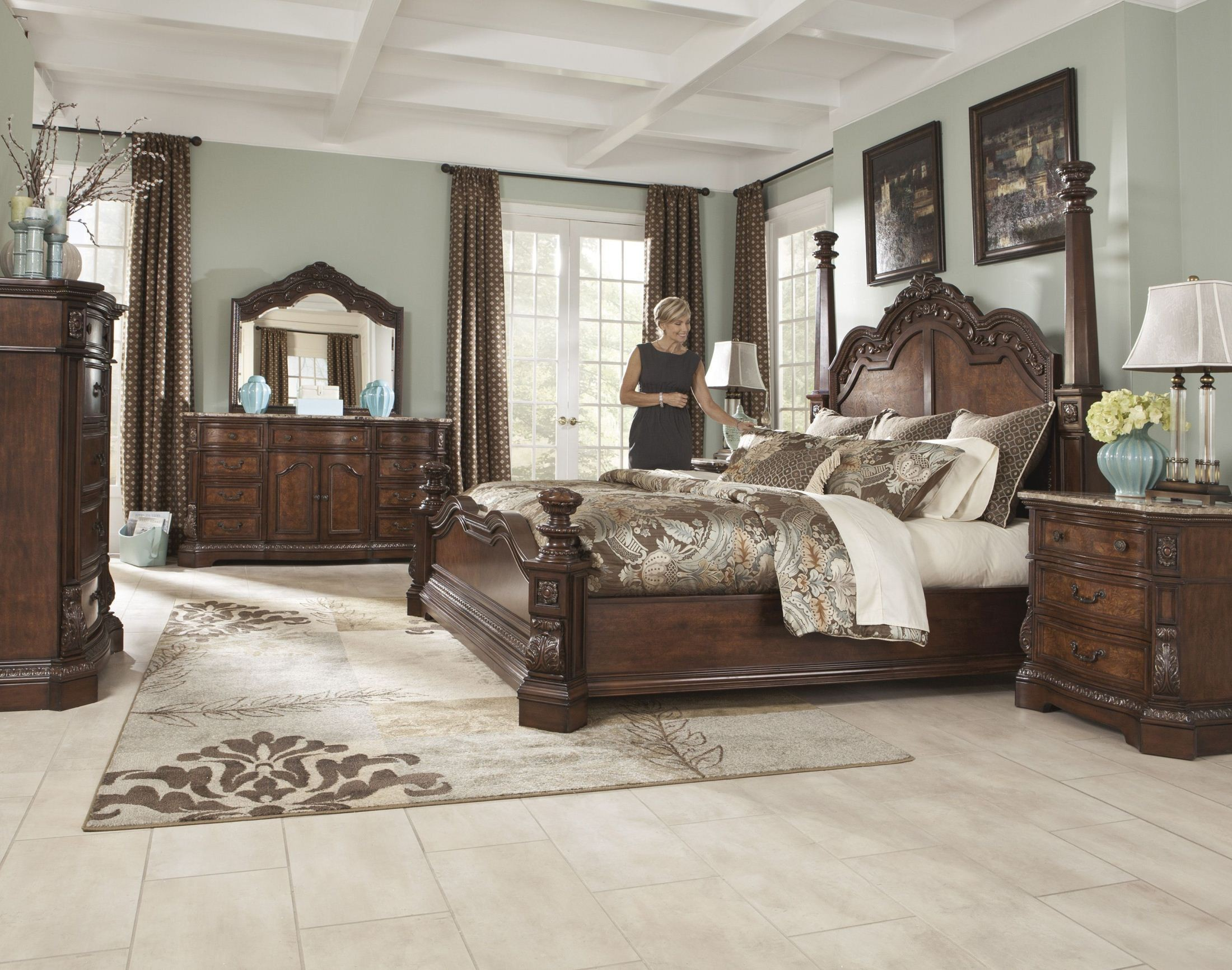 Bedroom Sets With Marble Tops ledelle bedroom mirror from ashley (b705-36) | coleman furniture
