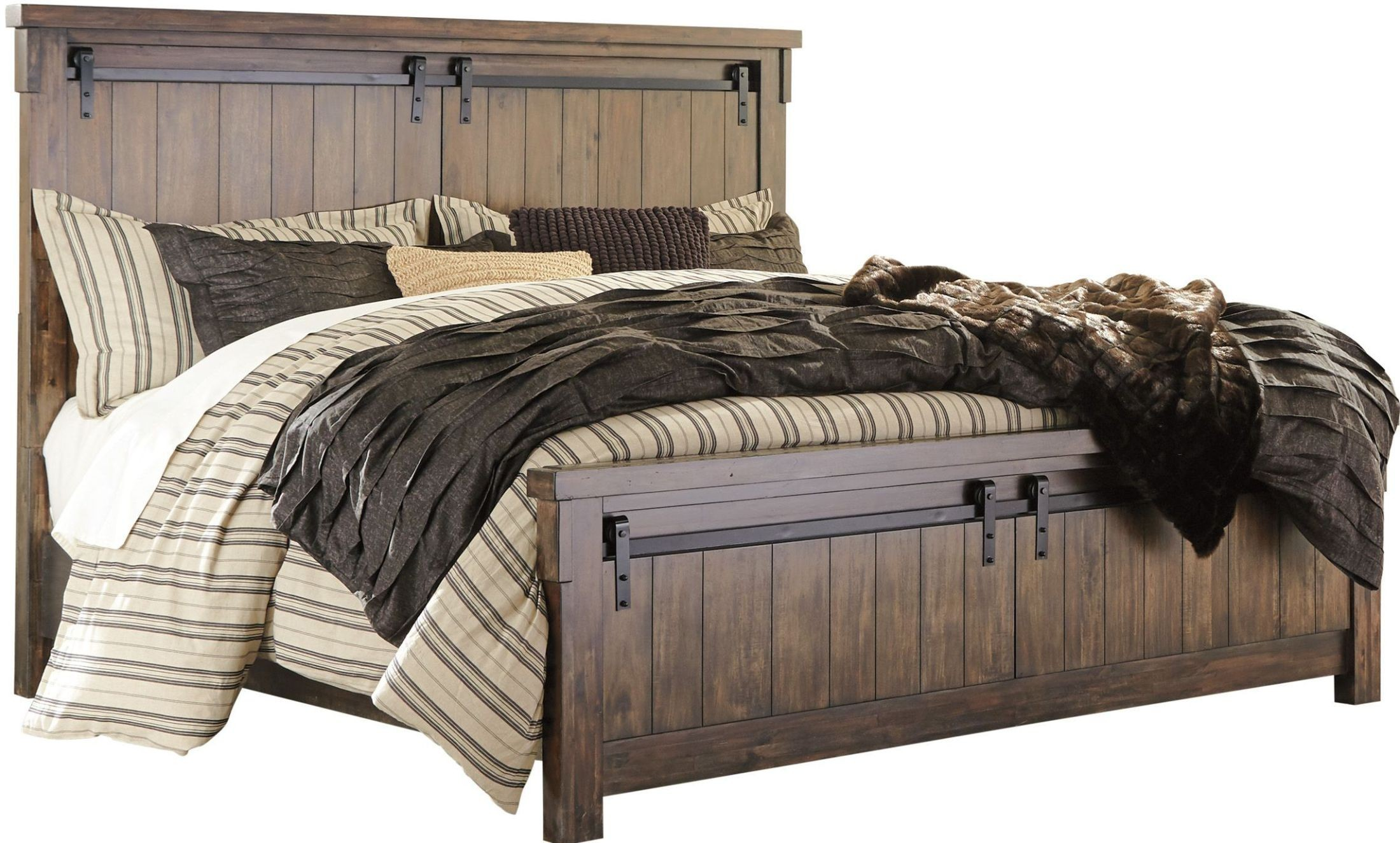 Lakeleigh brown queen panel bed from ashley coleman for Panel beds for sale