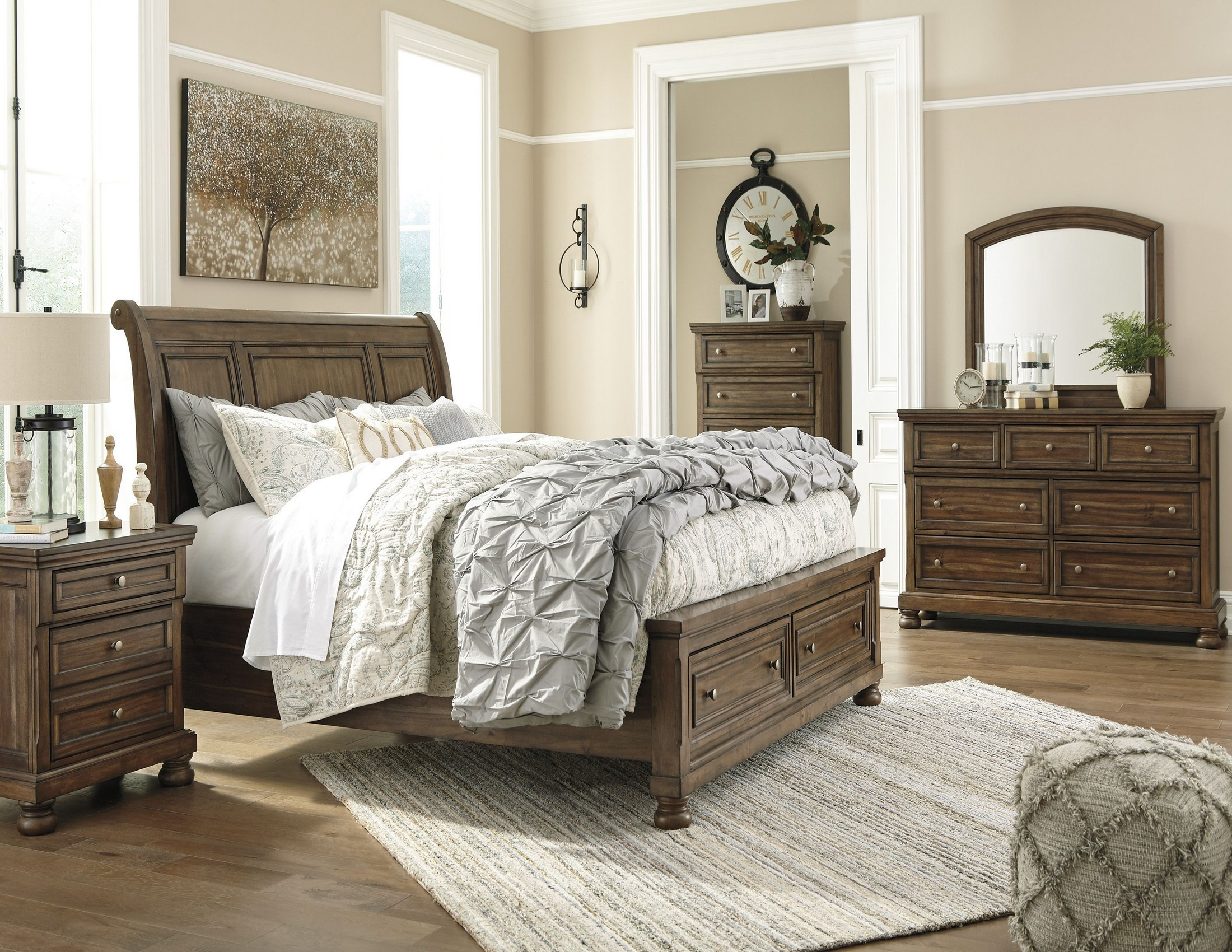 sleigh bedroom set flynnter medium brown sleigh storage bedroom set from 13170
